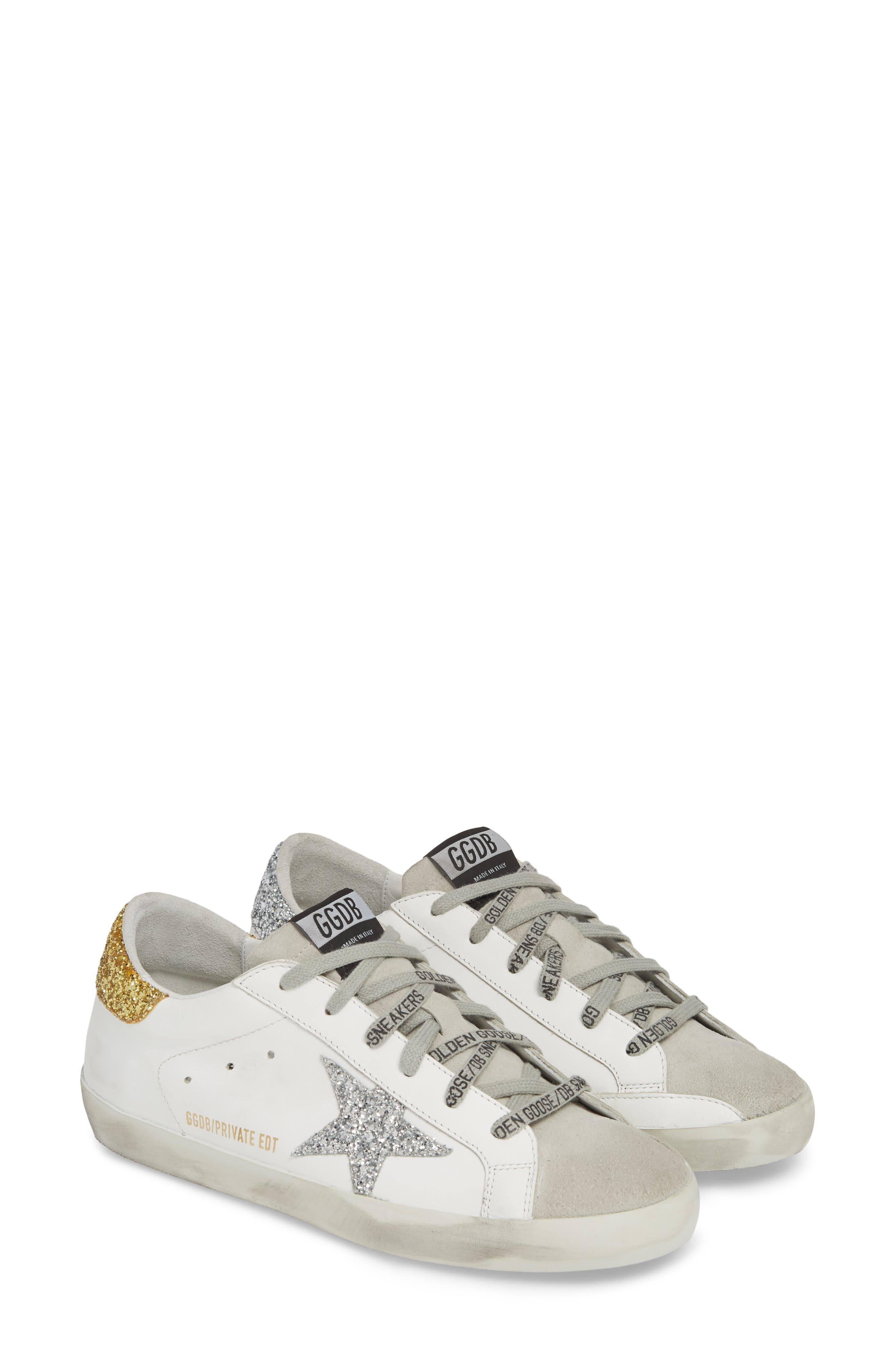 Superstar Low Top Sneaker,                             Alternate thumbnail 2, color,                             WHITE/ GOLD/ SILVER