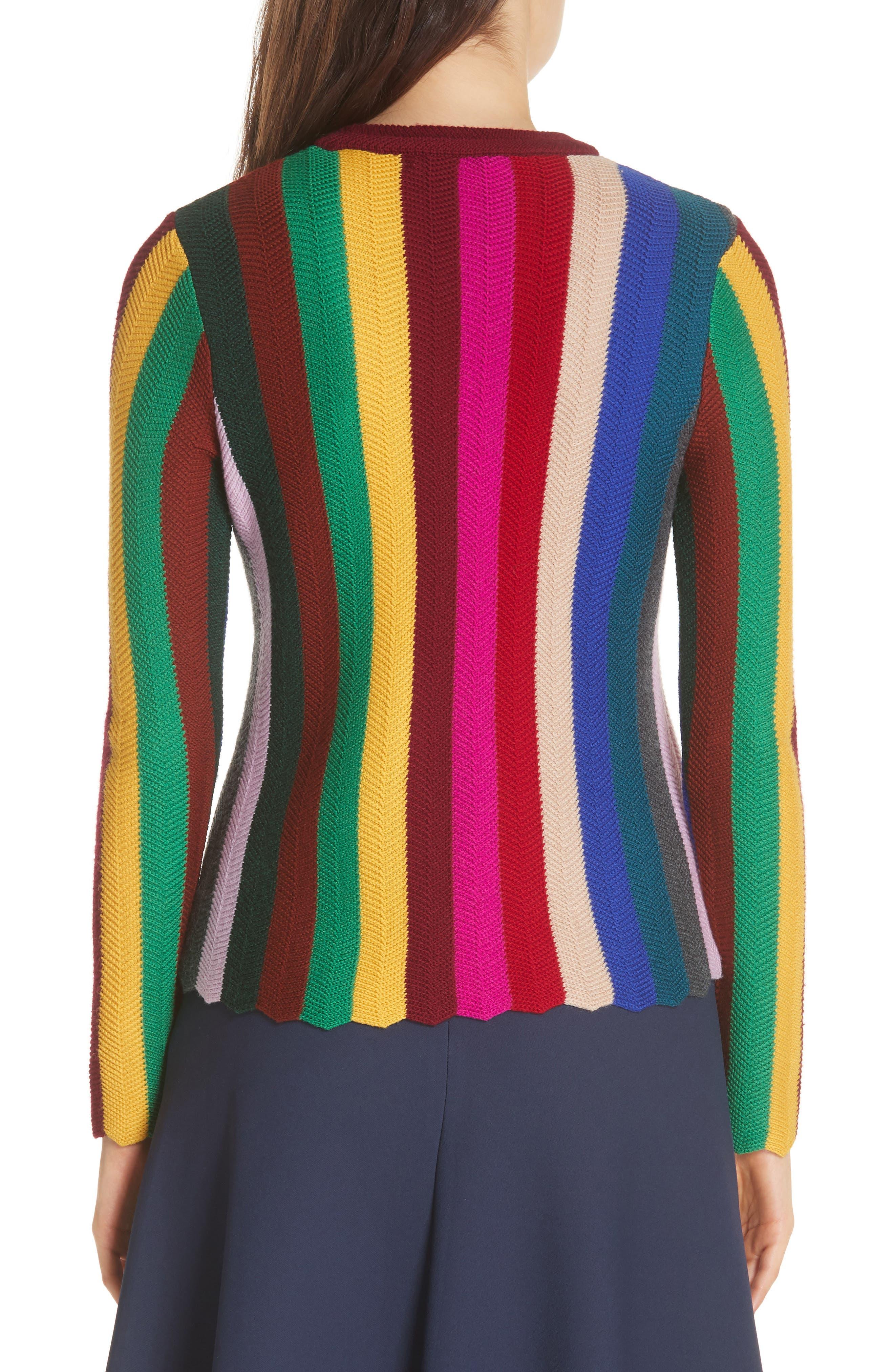 Chevron Vertical Stripe Wool Blend Scallop Hem Sweater,                             Alternate thumbnail 2, color,                             937