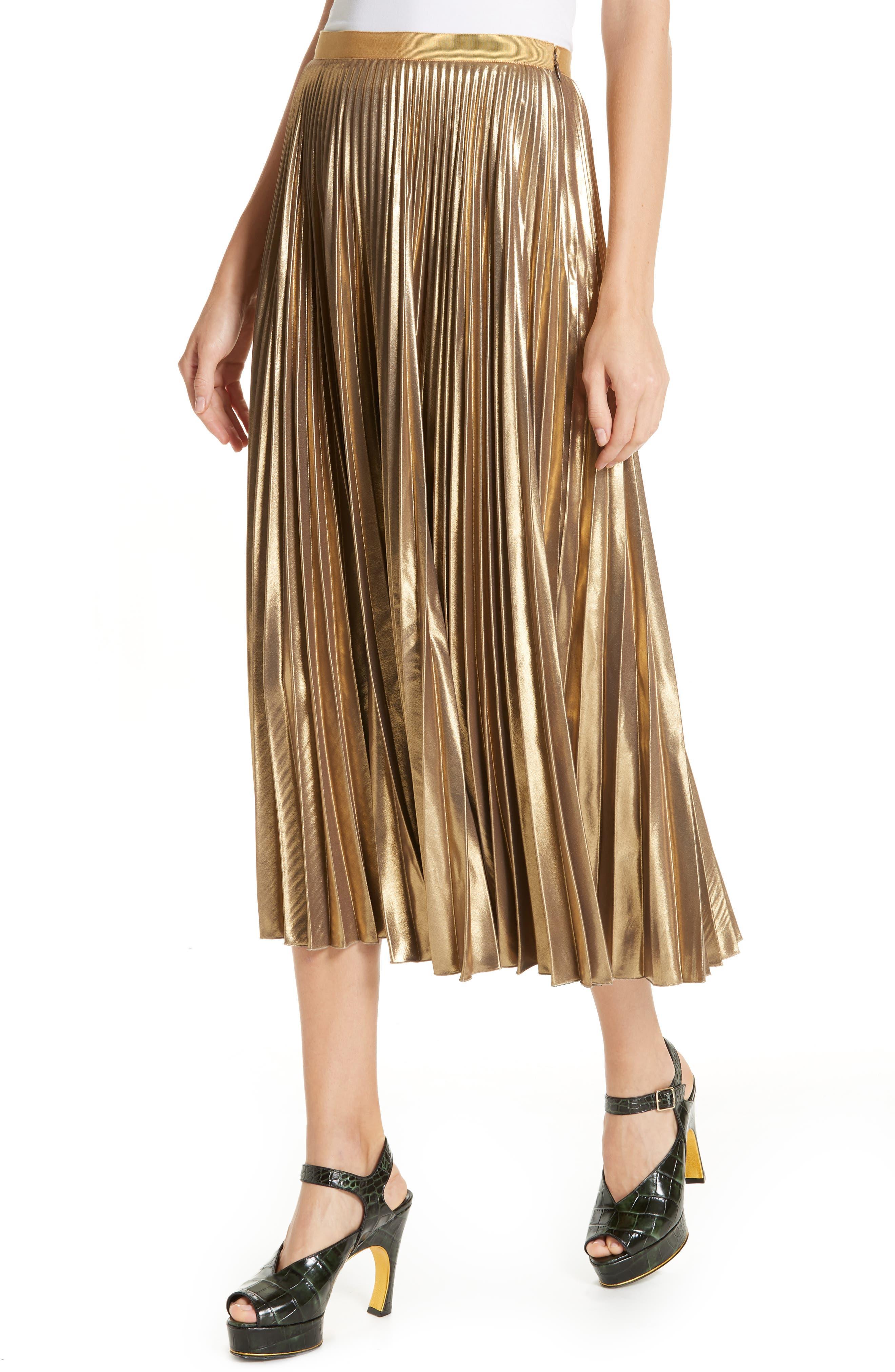 Pleated Metallic Skirt,                             Alternate thumbnail 4, color,                             710