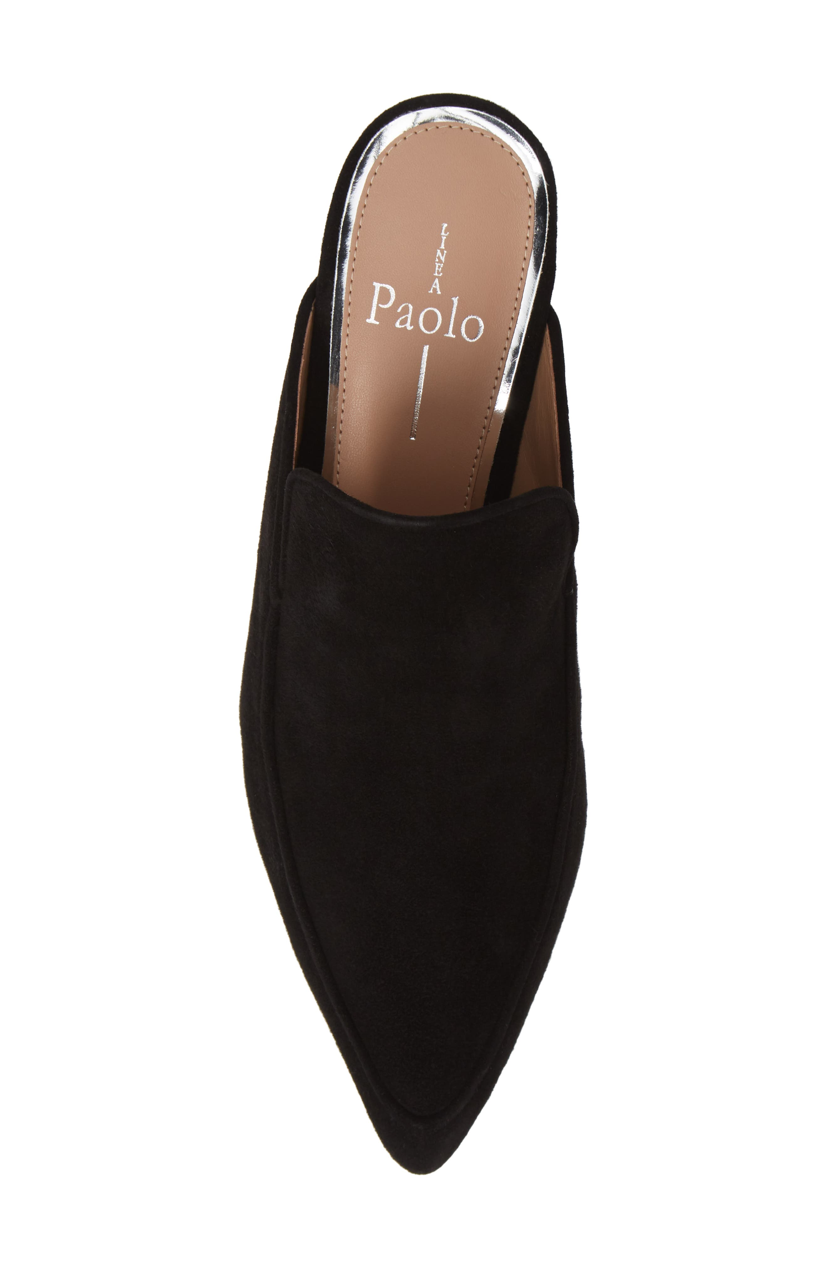 Gina Pointy Toe Mule,                             Alternate thumbnail 5, color,                             BLACK SUEDE