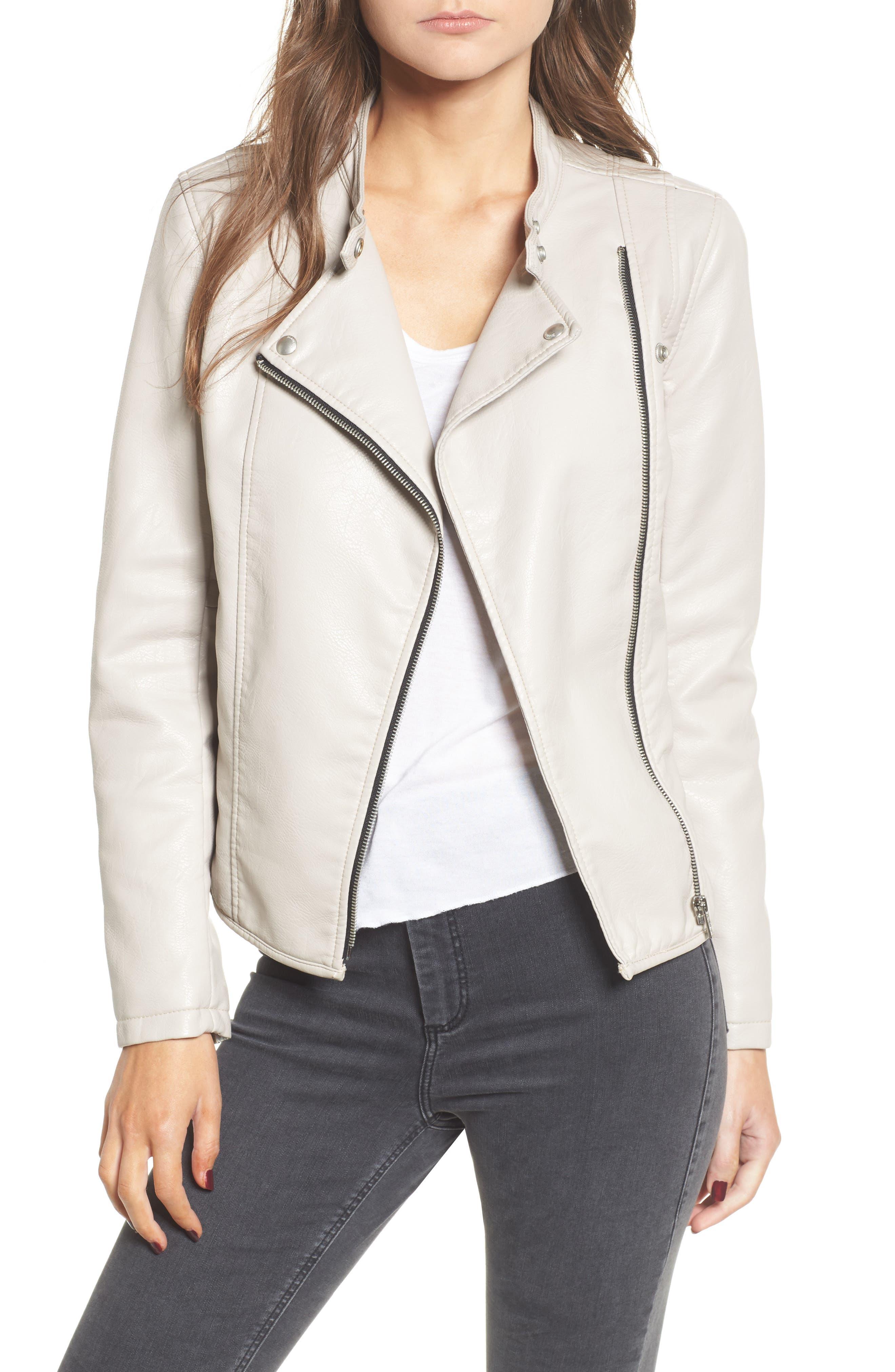 Faux Leather Ruffle Hem Moto Jacket,                         Main,                         color, 250