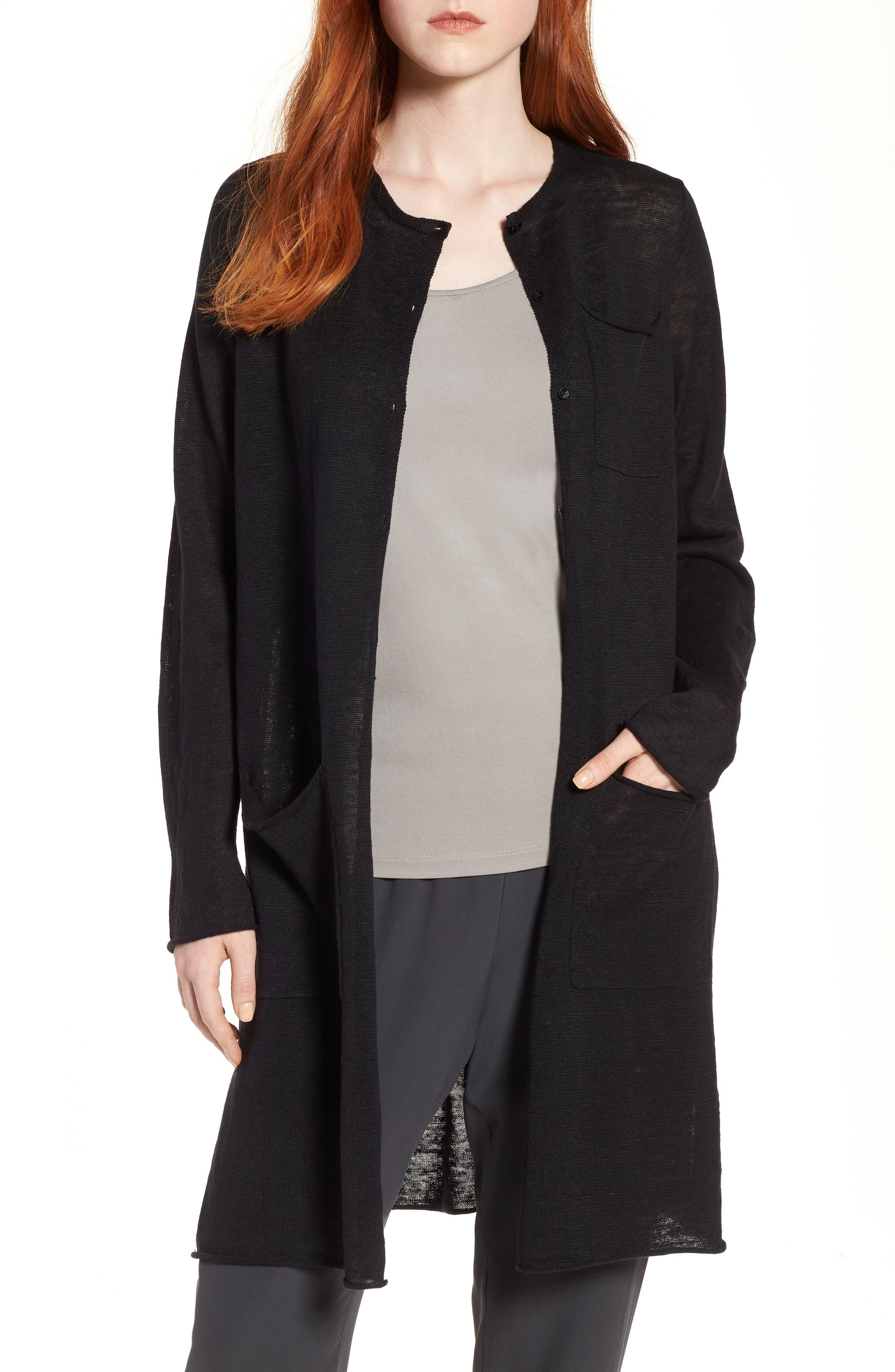 Long Organic Linen Cardigan,                         Main,                         color, 001