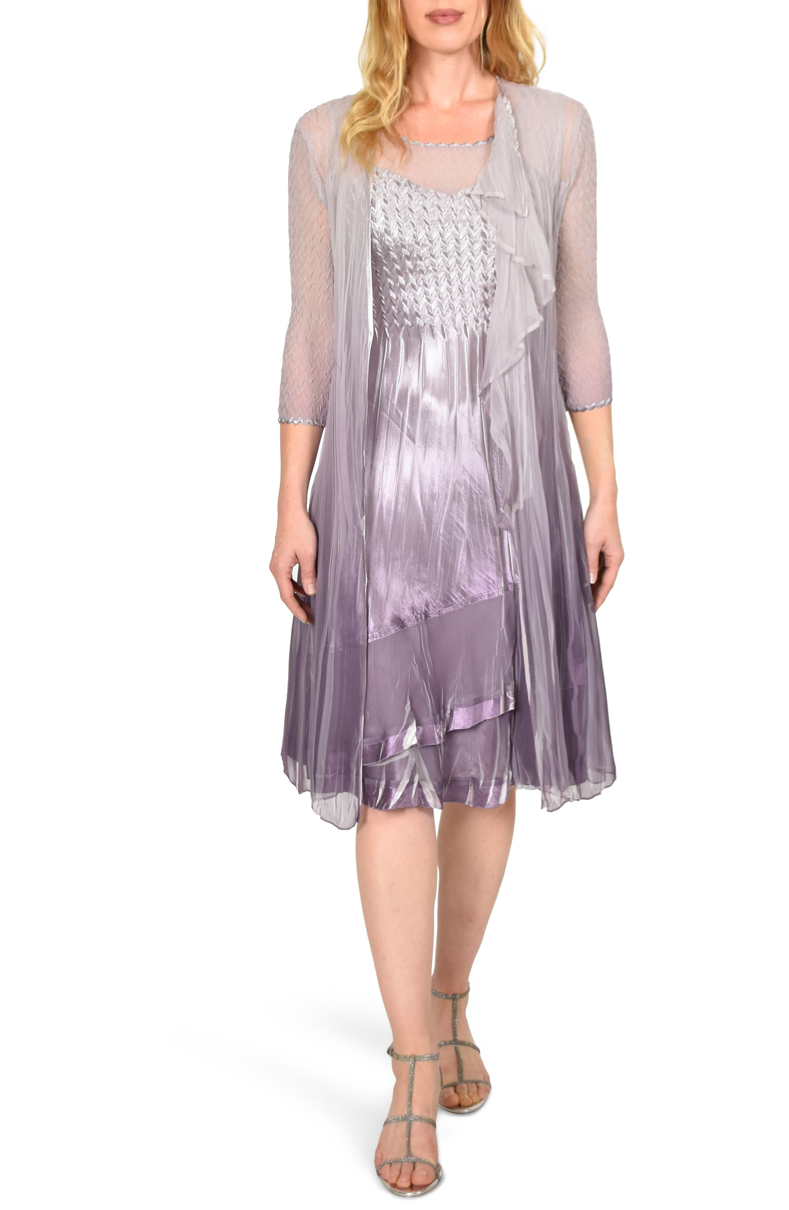 Petite Komorav Charmeuse Dress With Cascade Jacket, Purple