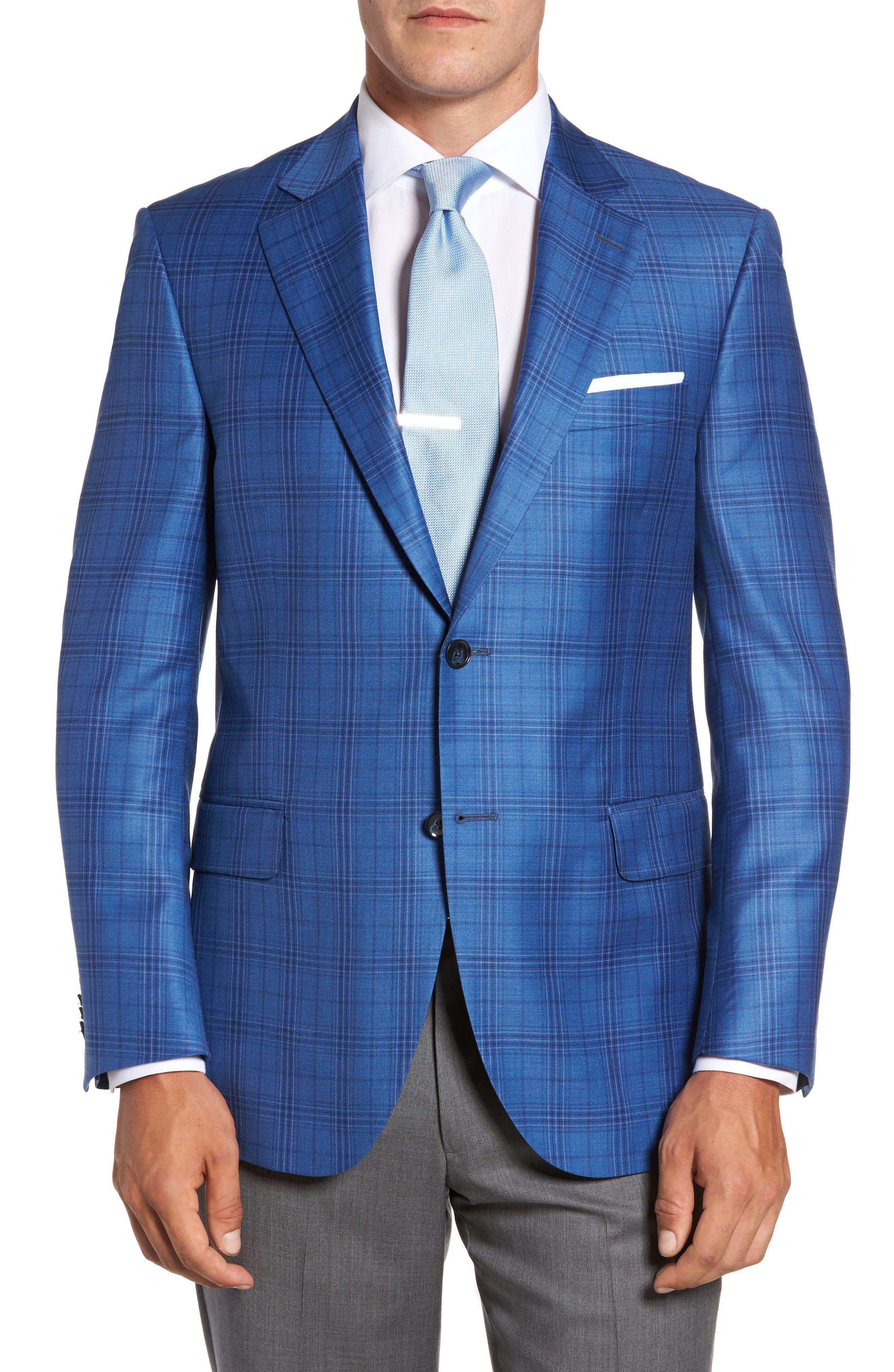 Flynn Classic Fit Plaid Wool Sport Coat,                             Alternate thumbnail 7, color,                             420