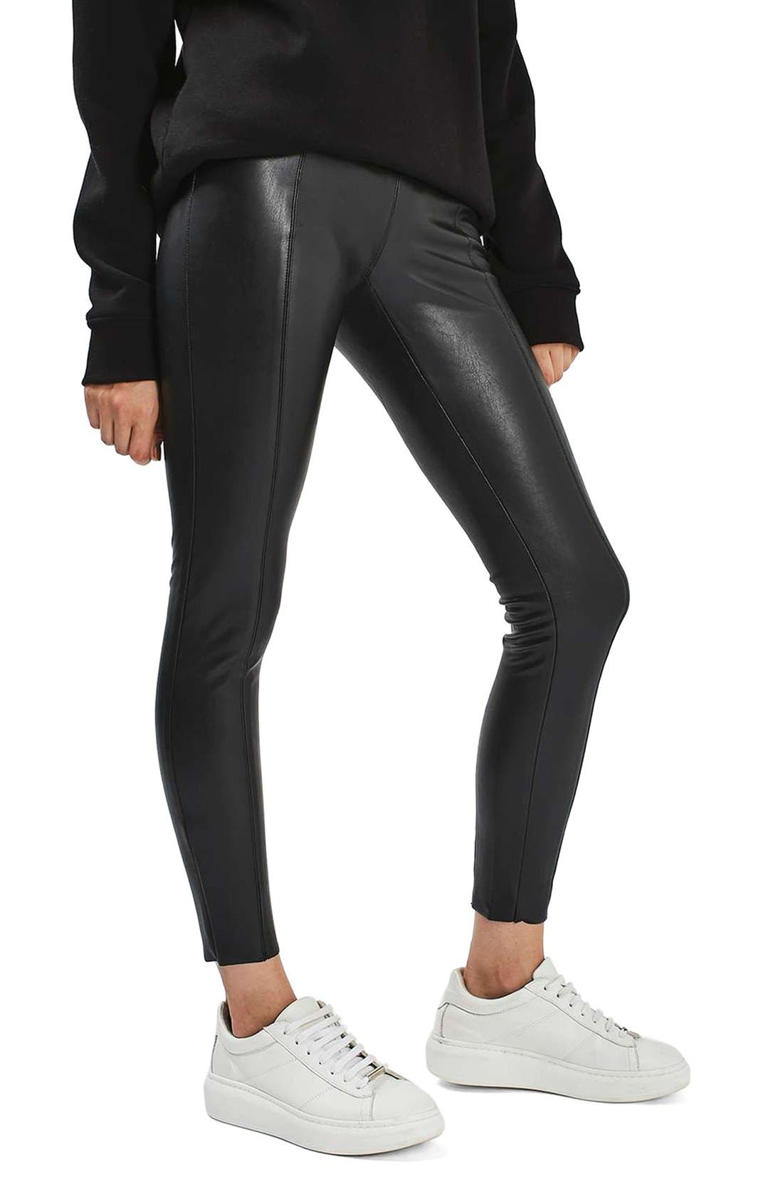 Percy Faux Leather Skinny Pants,                             Alternate thumbnail 3, color,                             001