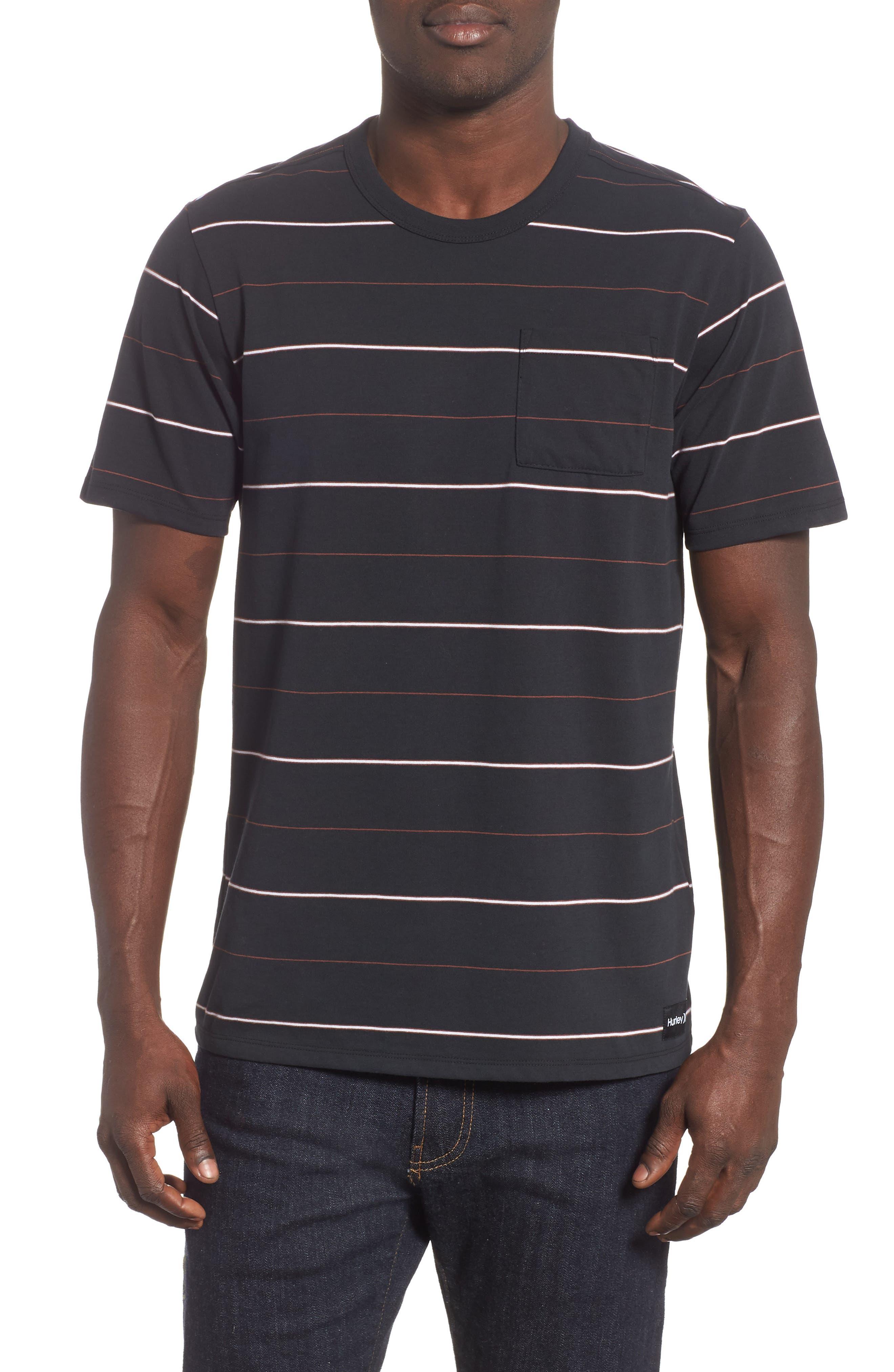 Hurley Dri-Fit Straya Stripe Pocket T-Shirt, Black