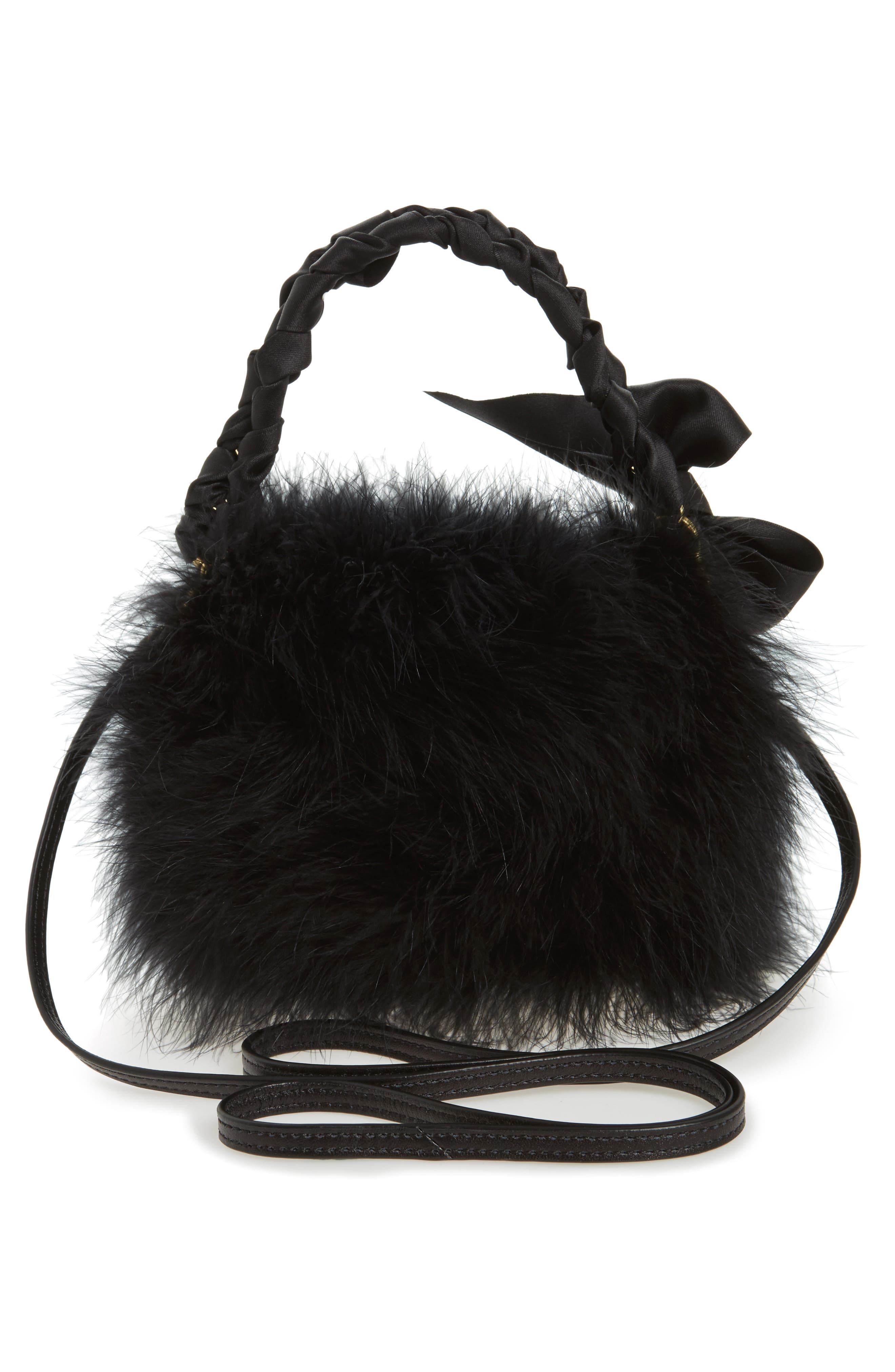 Small Calfskin Leather & Feather Bucket Bag,                             Alternate thumbnail 3, color,                             001