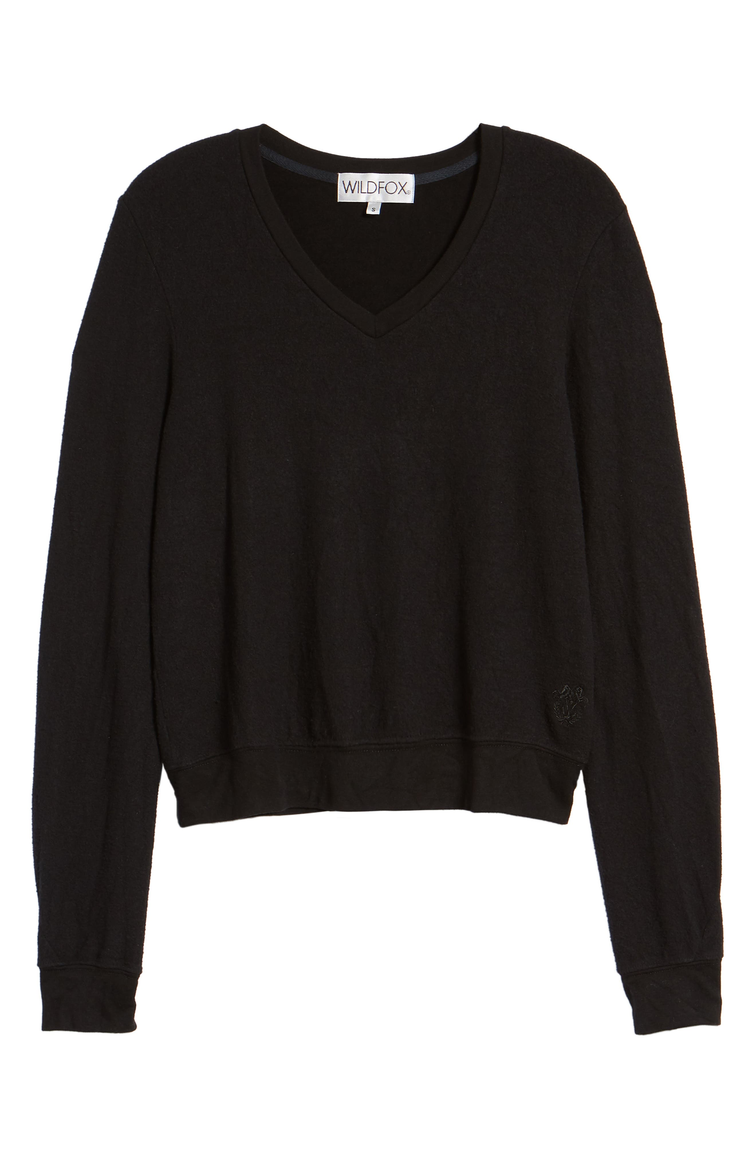V-Neck Pullover,                             Alternate thumbnail 6, color,                             JET BLACK