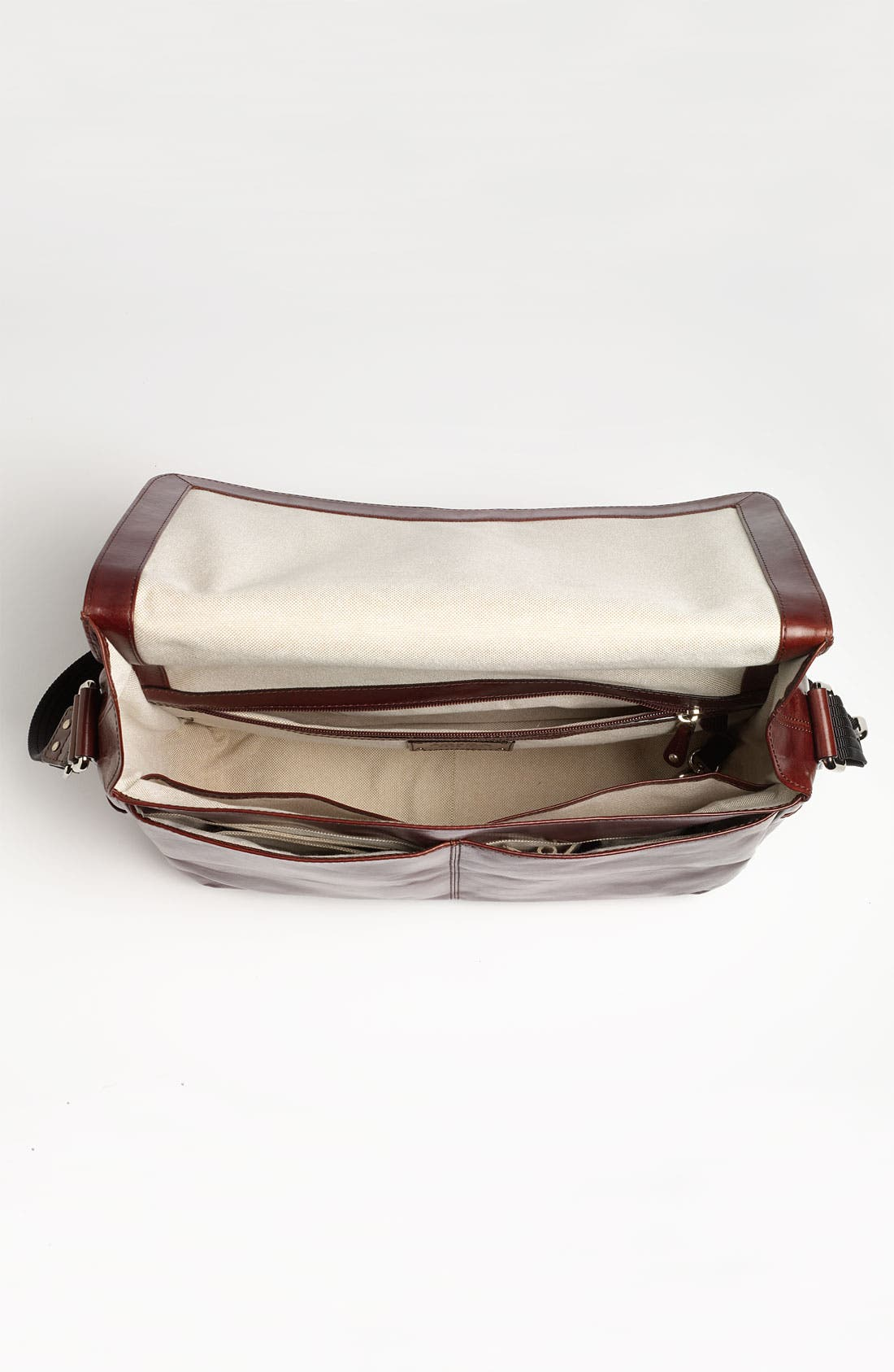 Leather Messenger Bag,                             Alternate thumbnail 4, color,                             200