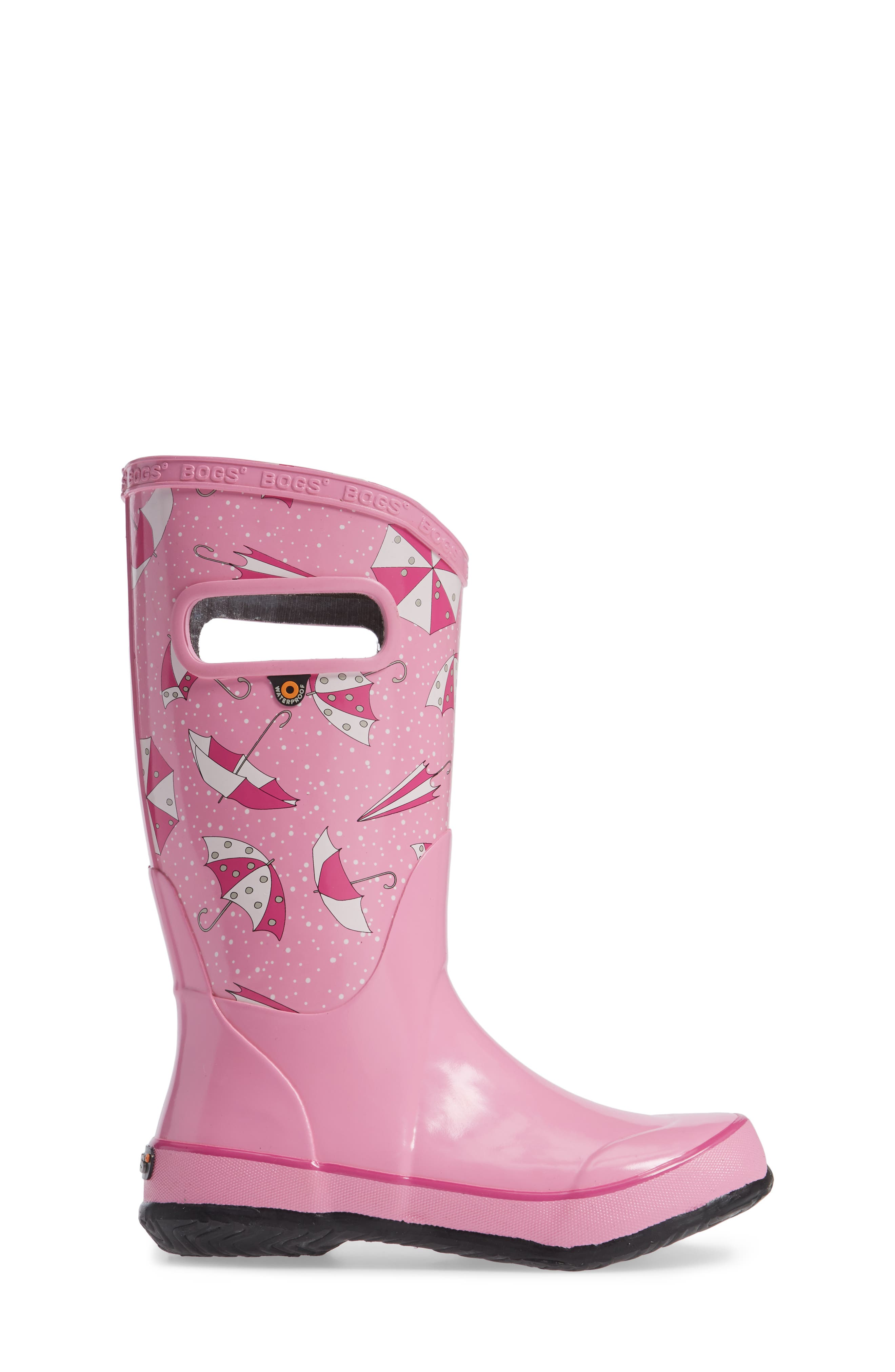 Umbrellas Waterproof Rubber Rain Boot,                             Alternate thumbnail 3, color,                             PINK MULTI