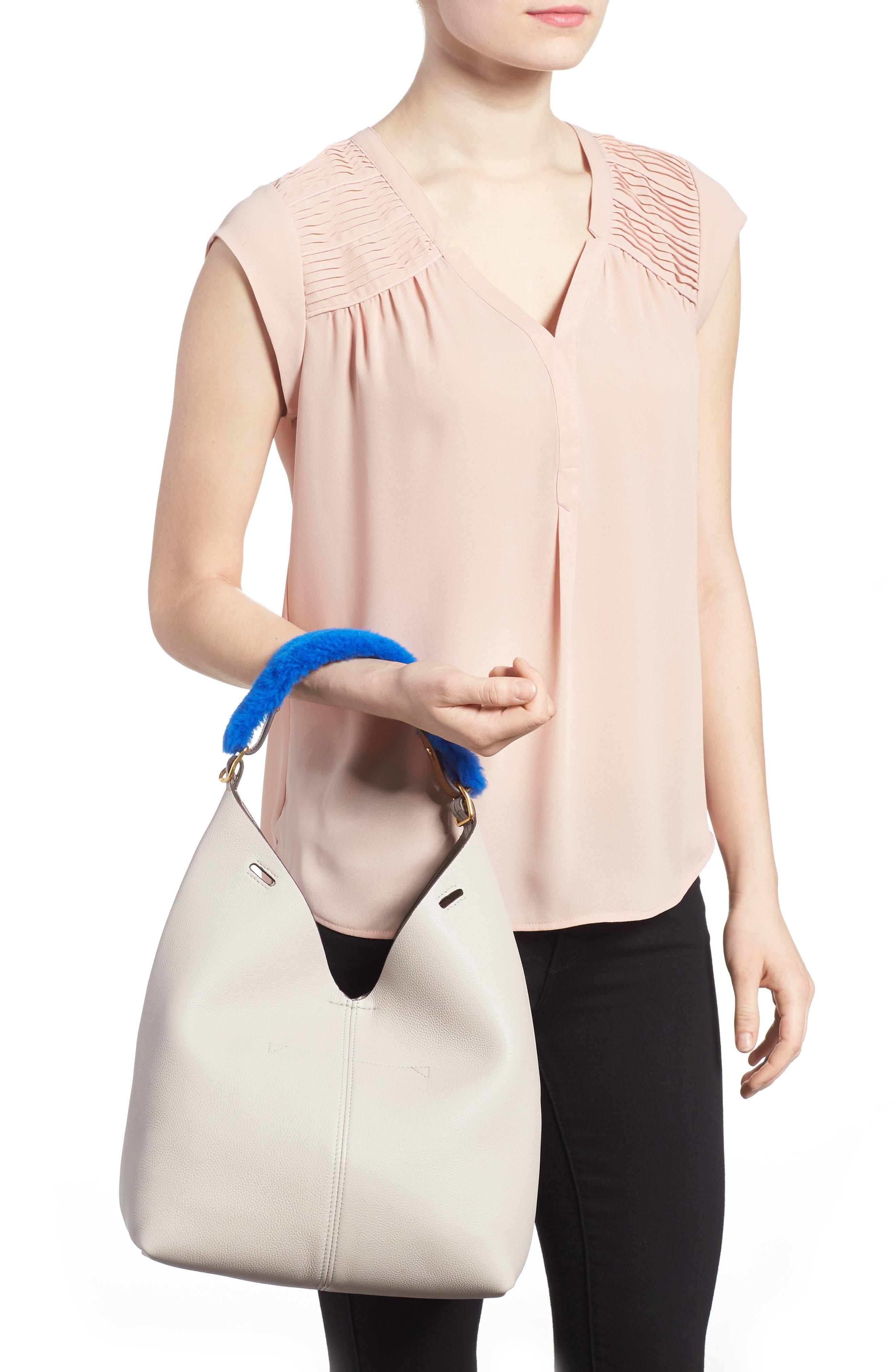 Build a Bag Genuine Shearling & Leather Bag Handle,                             Alternate thumbnail 2, color,                             400