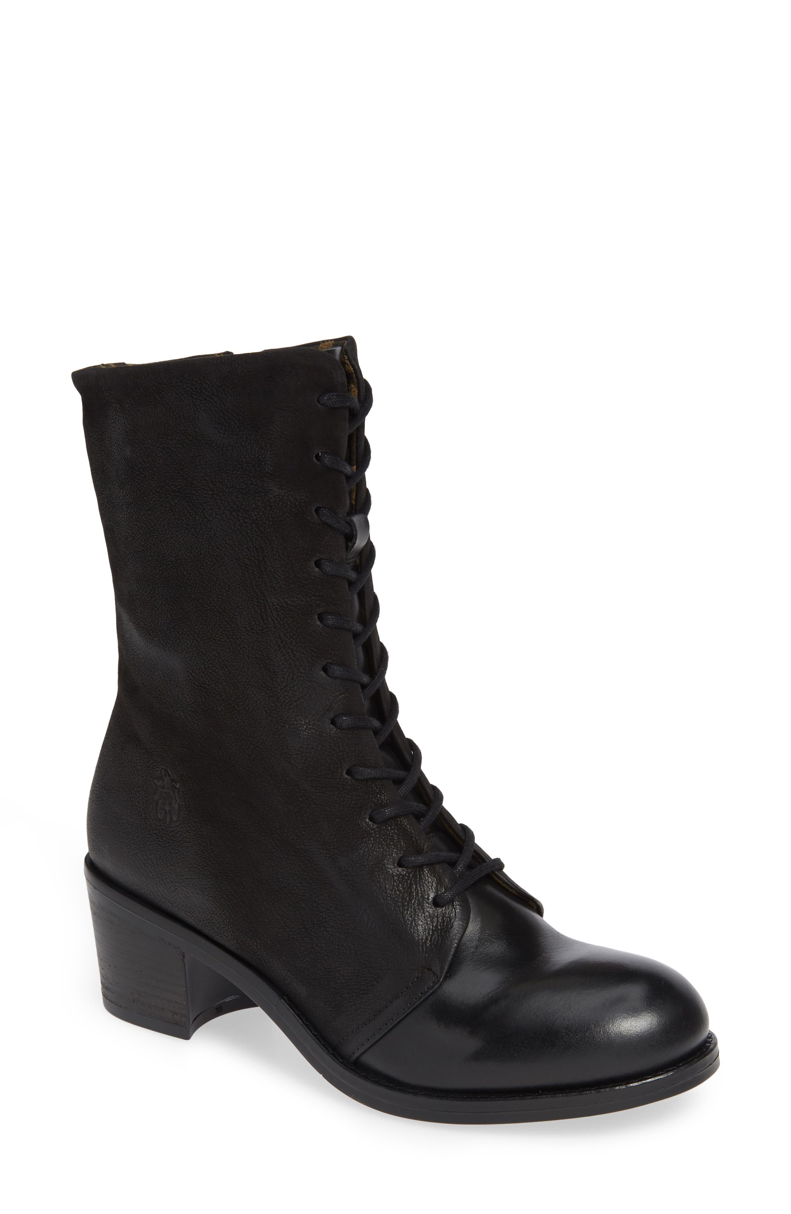 Zeko Lace-Up Boot,                         Main,                         color, BLACK