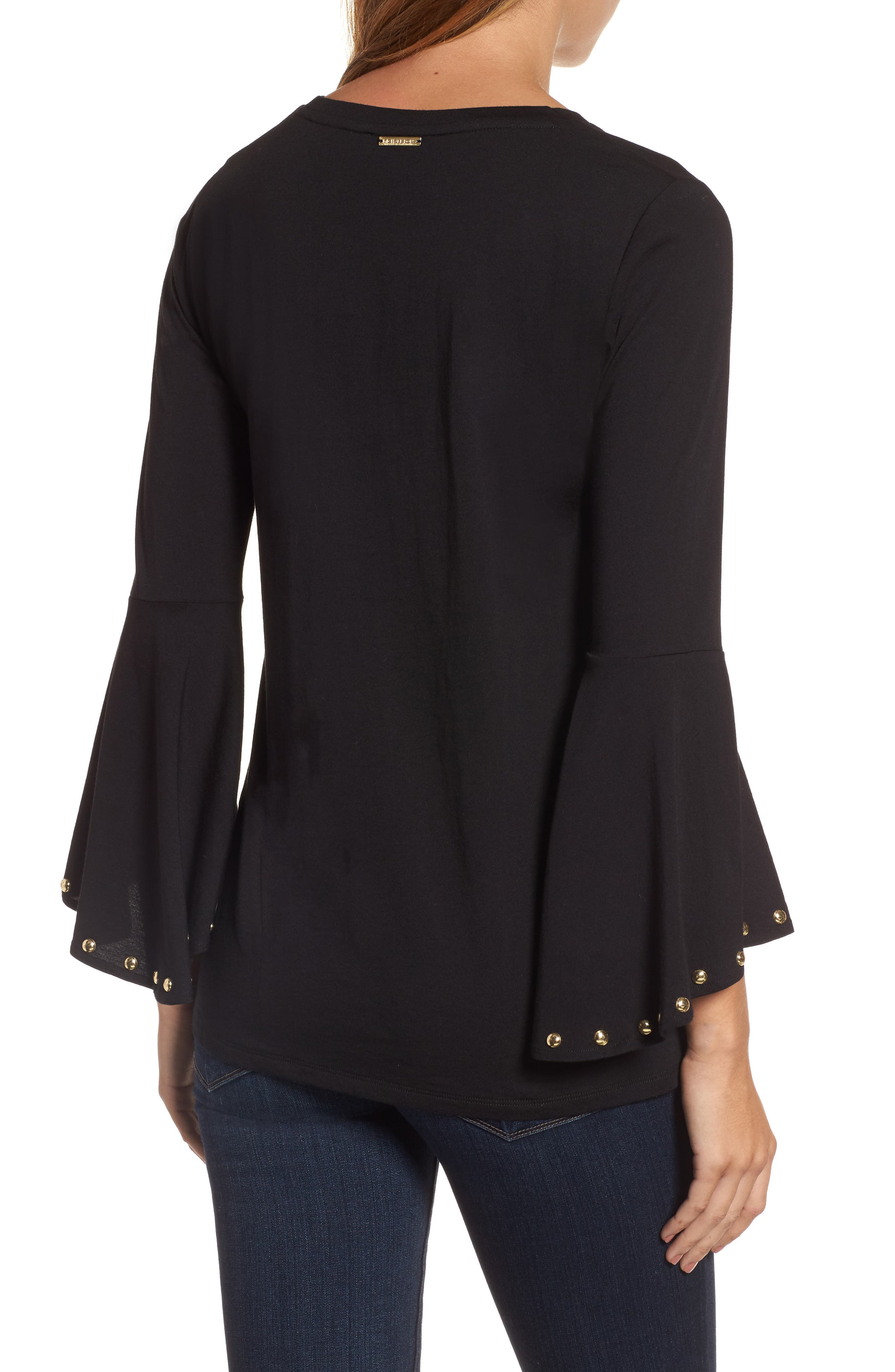 High/Low Bell Sleeve Top,                             Alternate thumbnail 4, color,