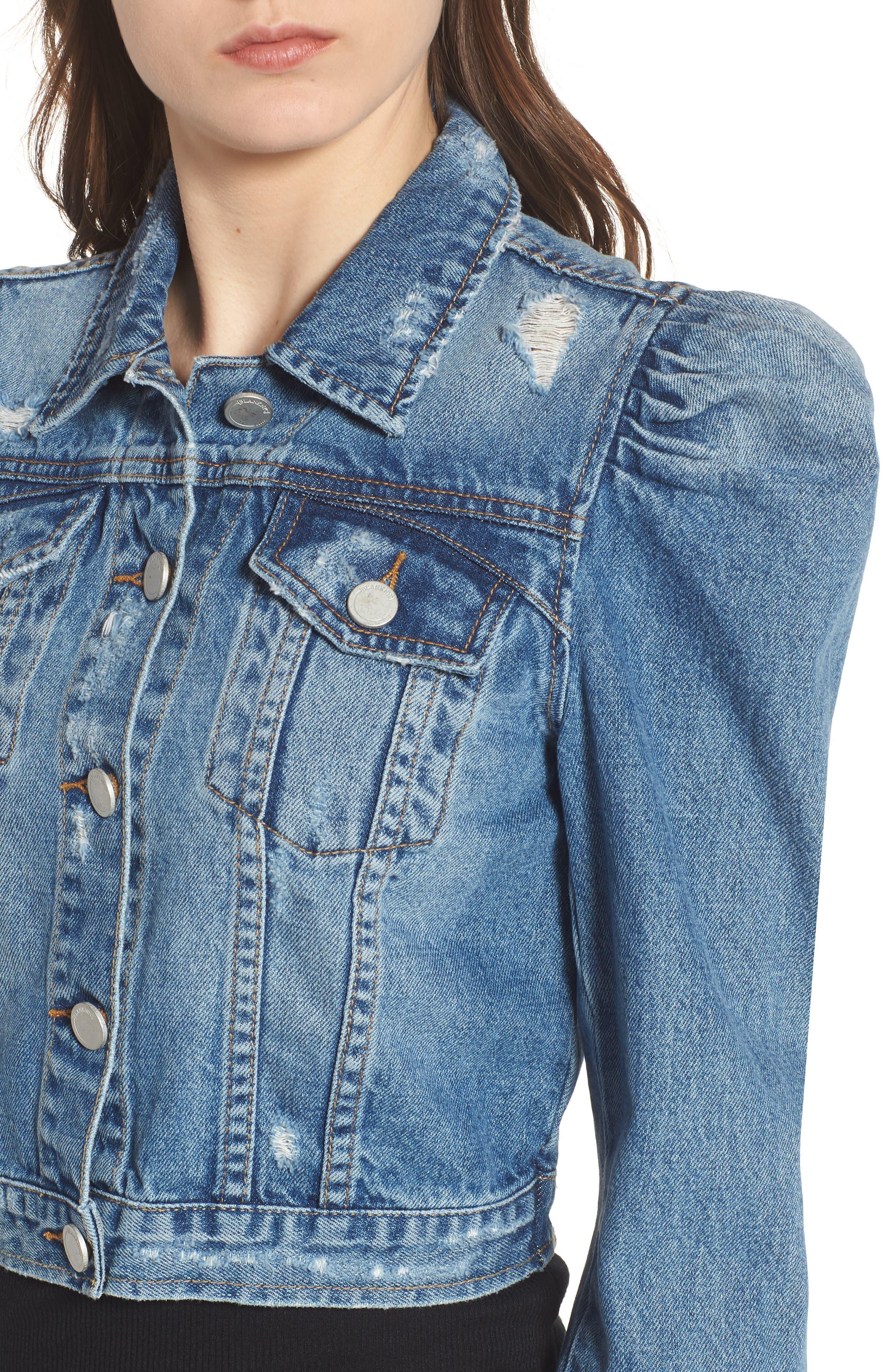 Crop Puff Shoulder Denim Jacket,                             Alternate thumbnail 4, color,