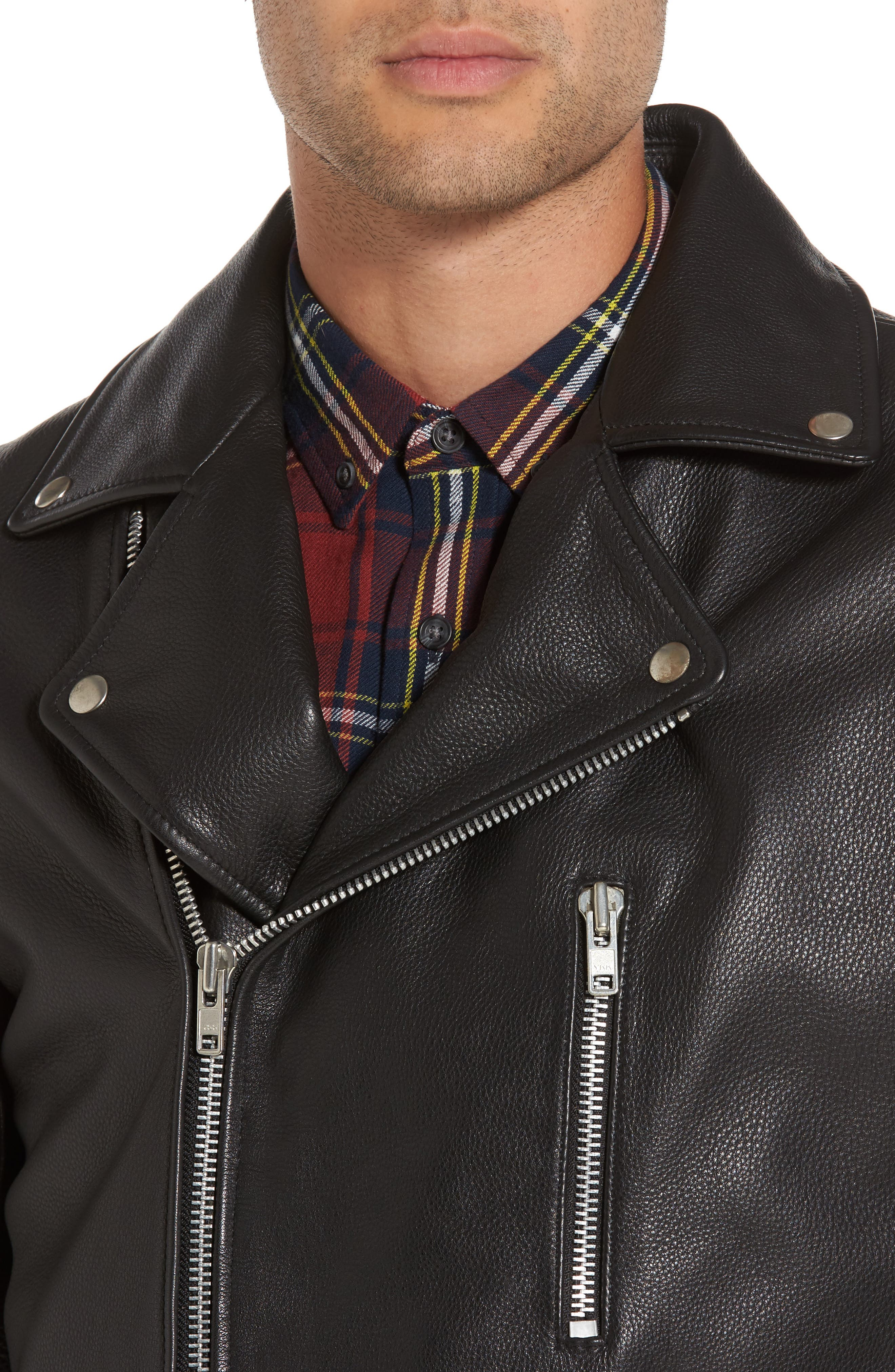 Staines Leather Moto Jacket,                             Alternate thumbnail 4, color,                             001