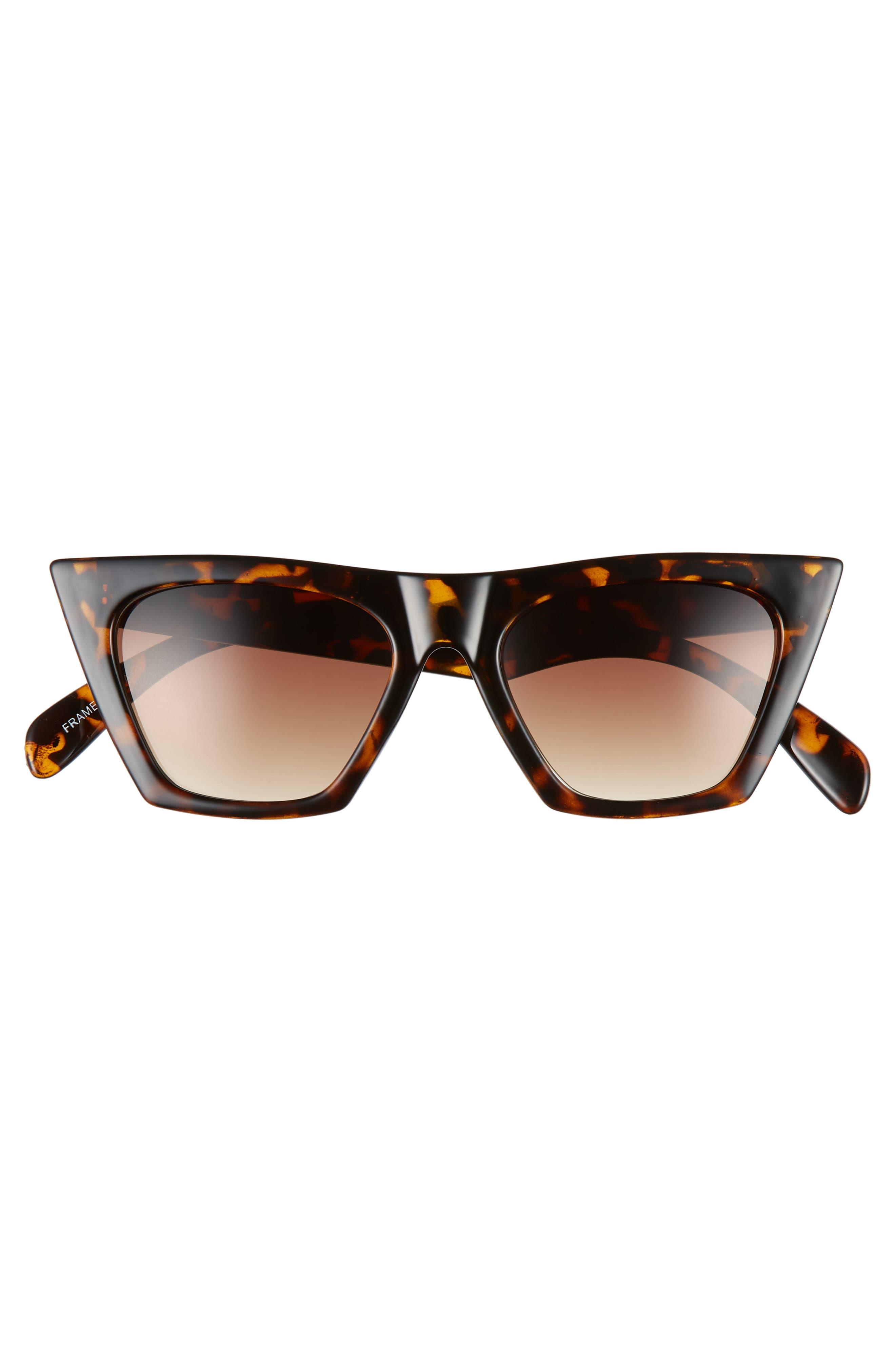 50mm Square Cat Eye Sunglasses,                             Alternate thumbnail 3, color,                             TORTOISE