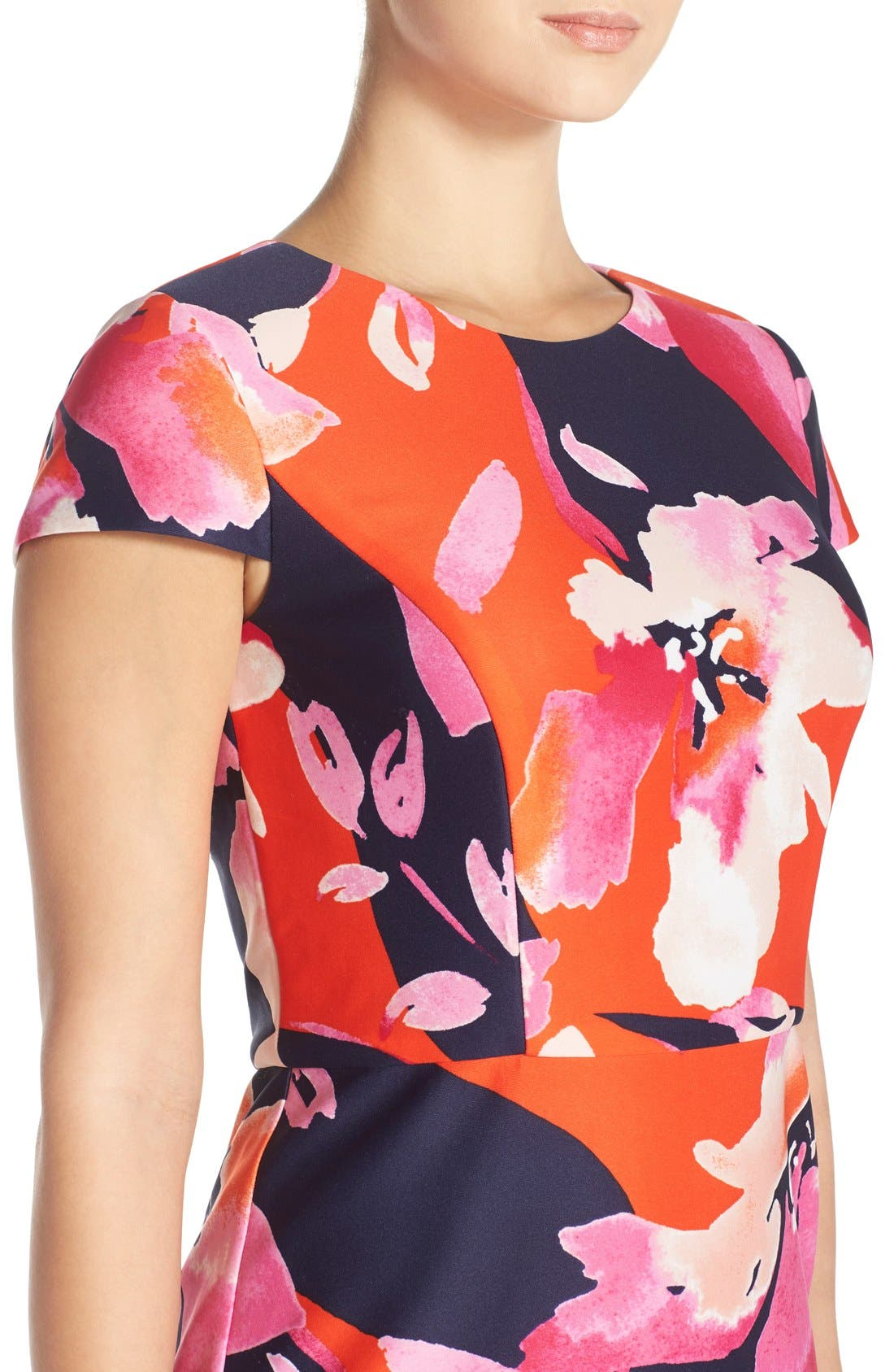 Floral Scuba Sheath Dress,                             Alternate thumbnail 4, color,                             650