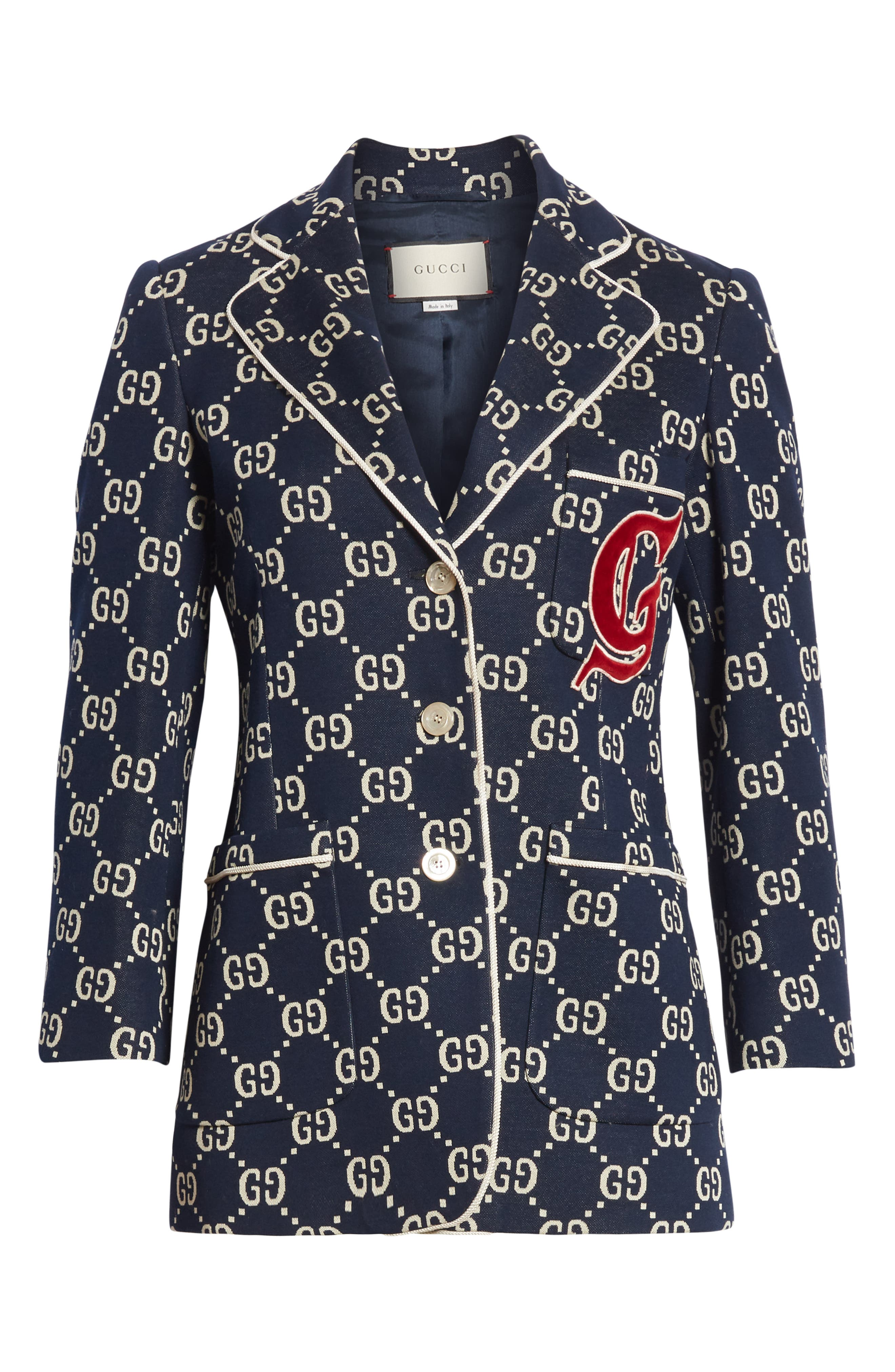 GG Embroidered Jersey Blazer,                             Alternate thumbnail 4, color,                             CASPIAN/ MULTICOLOR