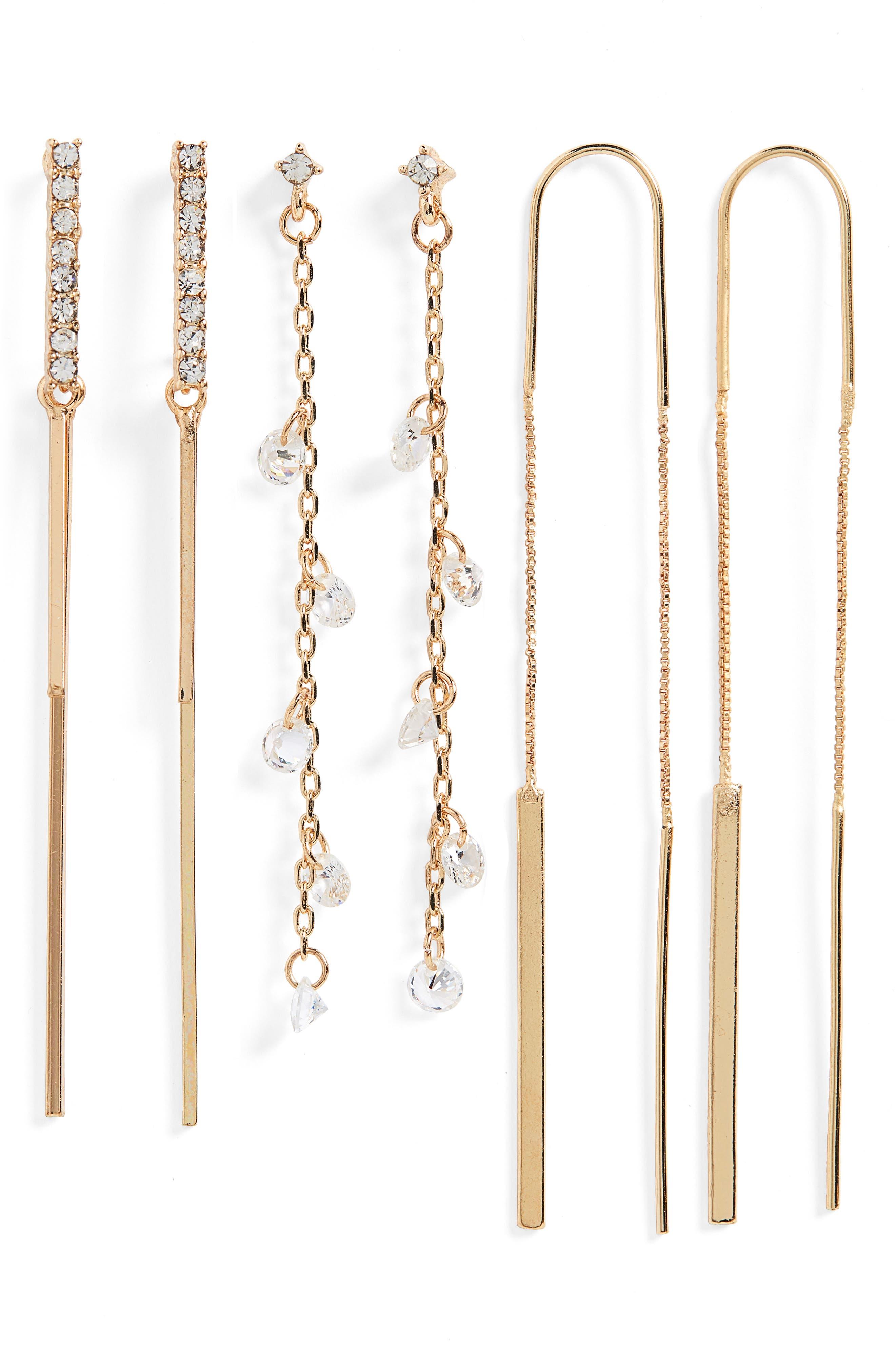 3-Pack Crystal Linear Earrings,                             Main thumbnail 1, color,                             710