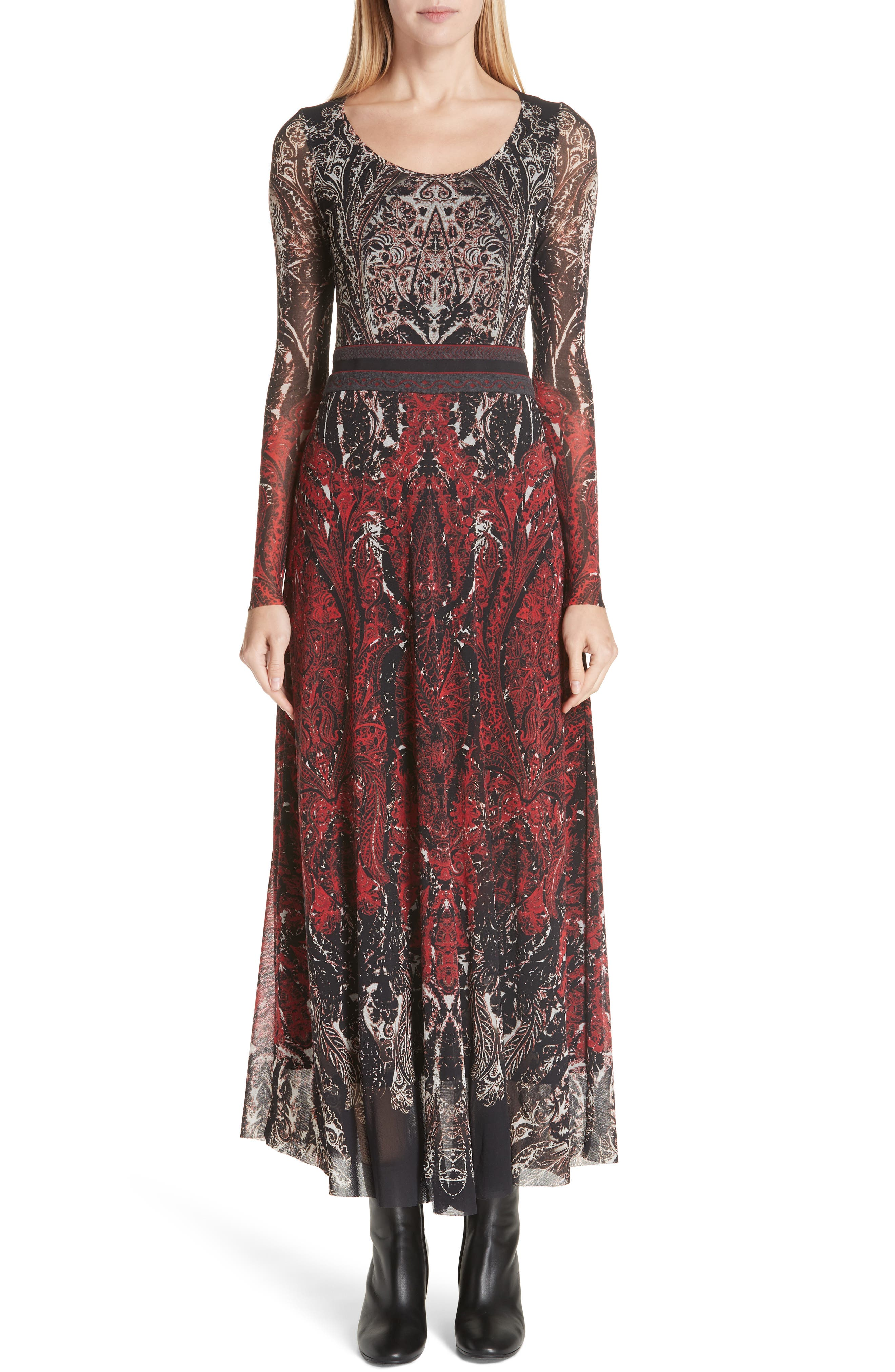 Paisley Tulle Two-Way Dress,                             Main thumbnail 1, color,                             ROSSO