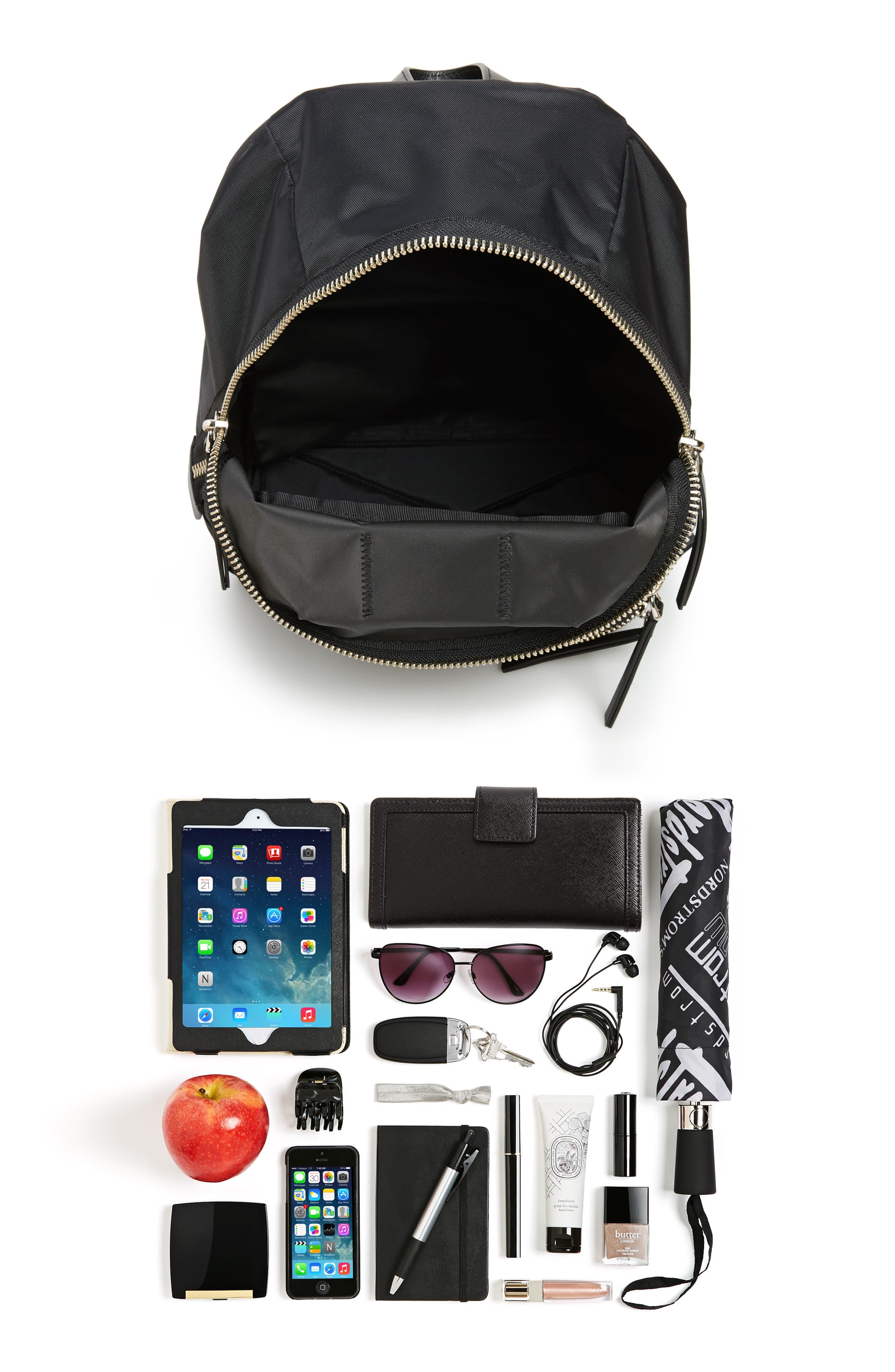 Biker Nylon Backpack,                             Alternate thumbnail 7, color,                             BLACK