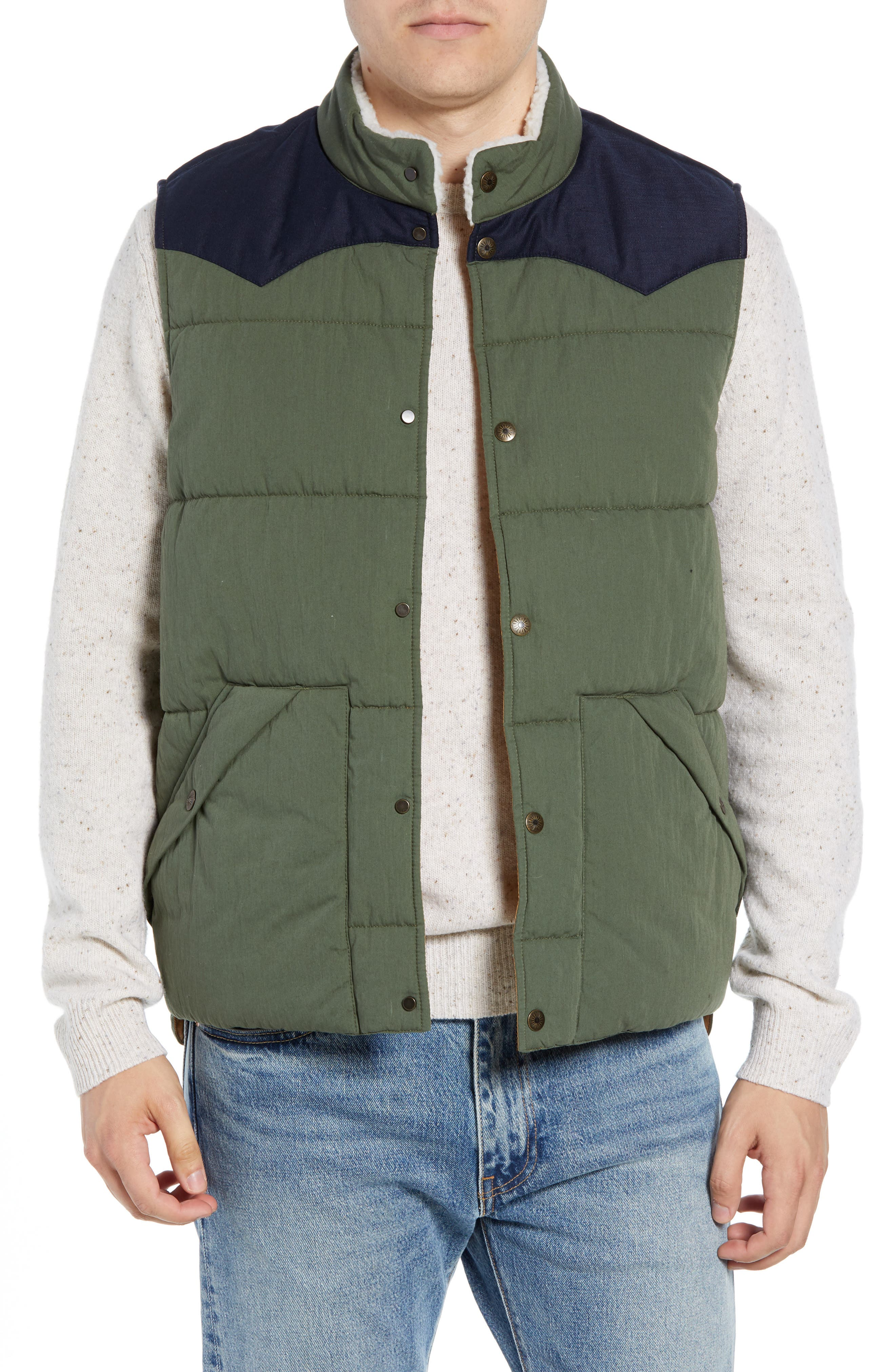 Faherty Quilted Western Vest, Green