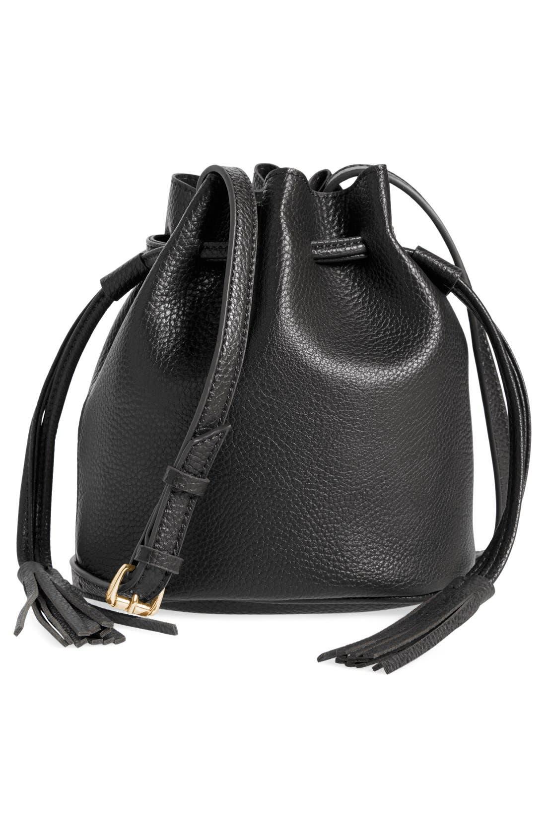 Mini Faux Leather Tassel Bucket Bag,                             Main thumbnail 1, color,                             001