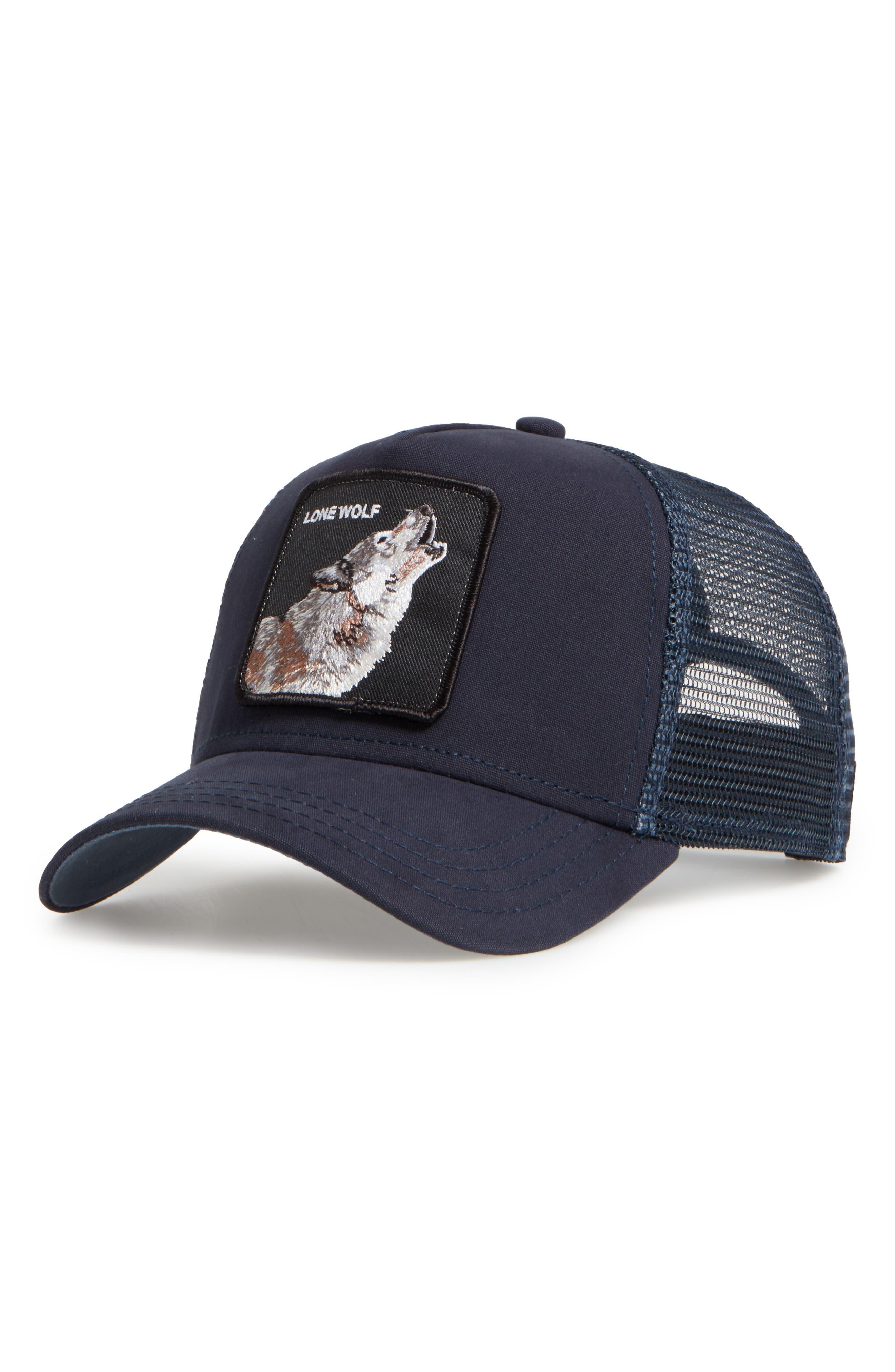 Animal Farm Wolf Trucker Hat,                             Main thumbnail 1, color,                             NAVY