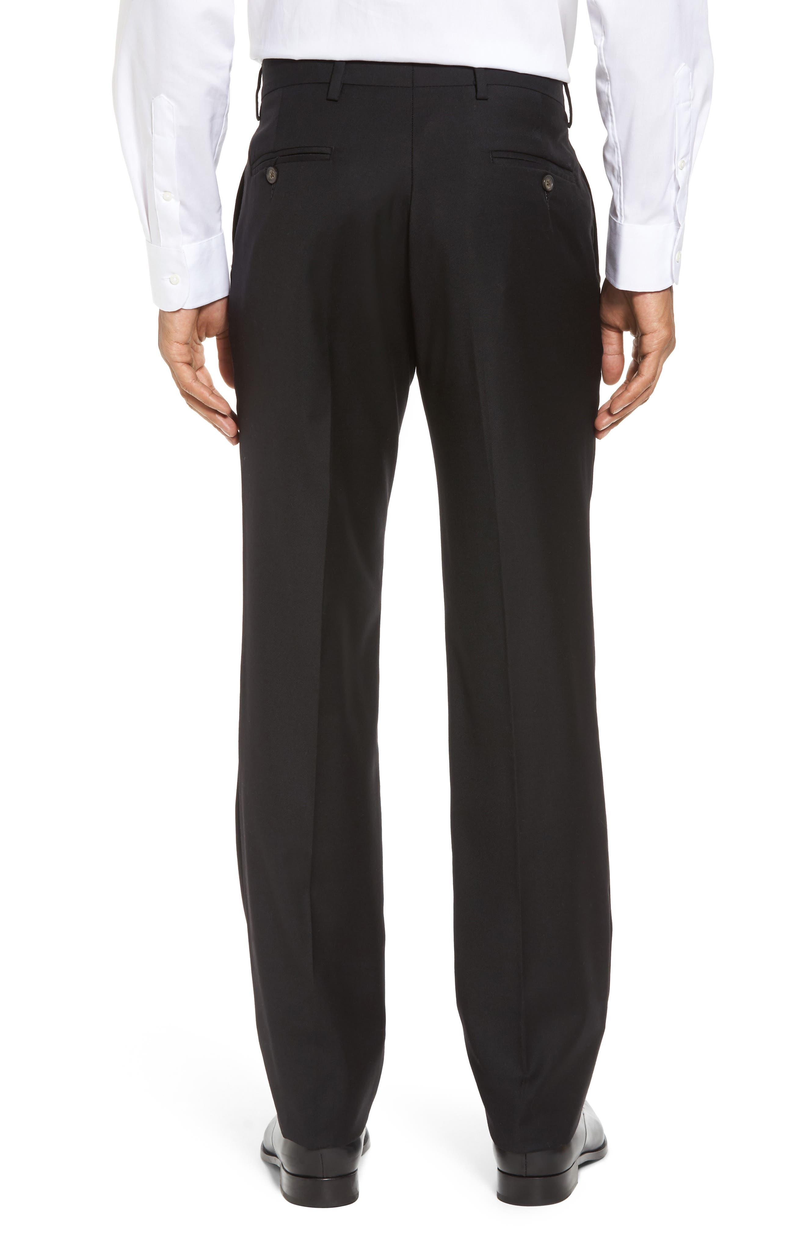 Flat Front Stretch Solid Wool Trousers,                             Alternate thumbnail 3, color,                             001