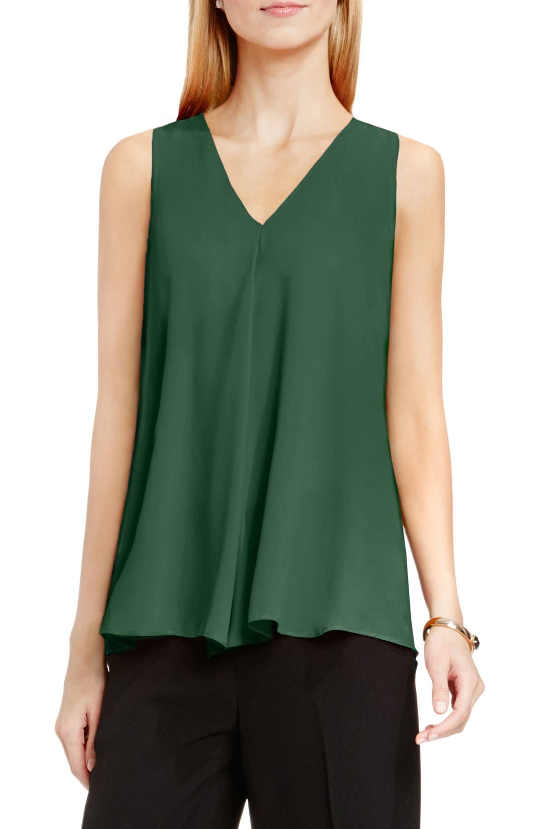 Drape Front V-Neck Sleeveless Blouse,                             Main thumbnail 9, color,