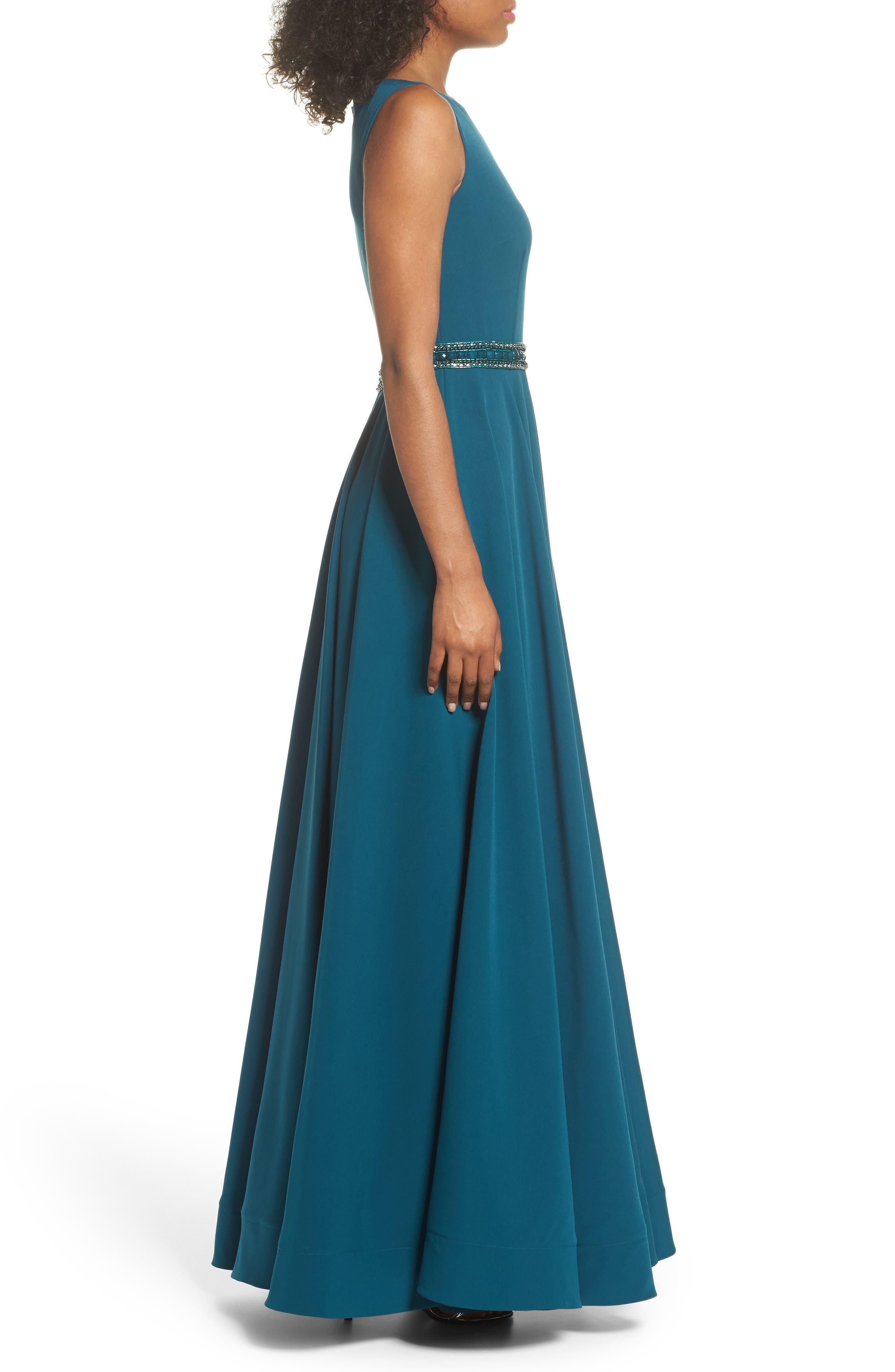 Beaded Waist Gown,                             Alternate thumbnail 3, color,                             TEAL