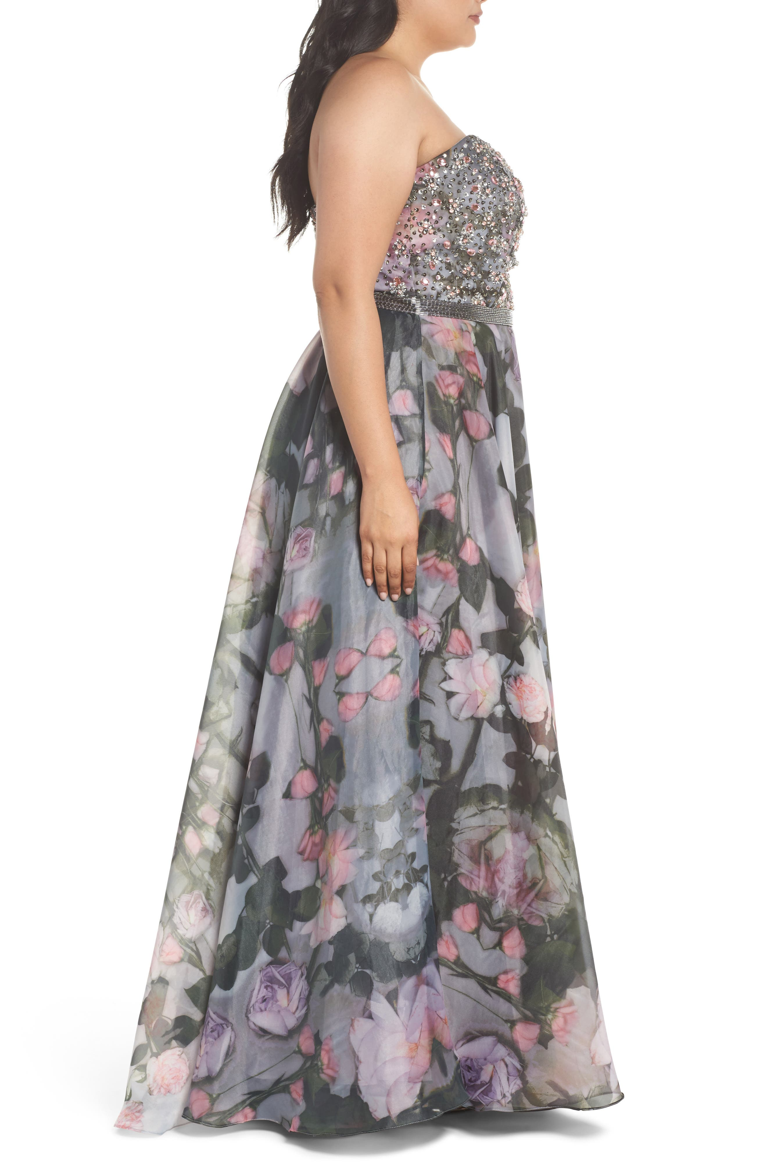Embellished Flora Strapless Sweetheart Gown,                             Alternate thumbnail 3, color,                             665