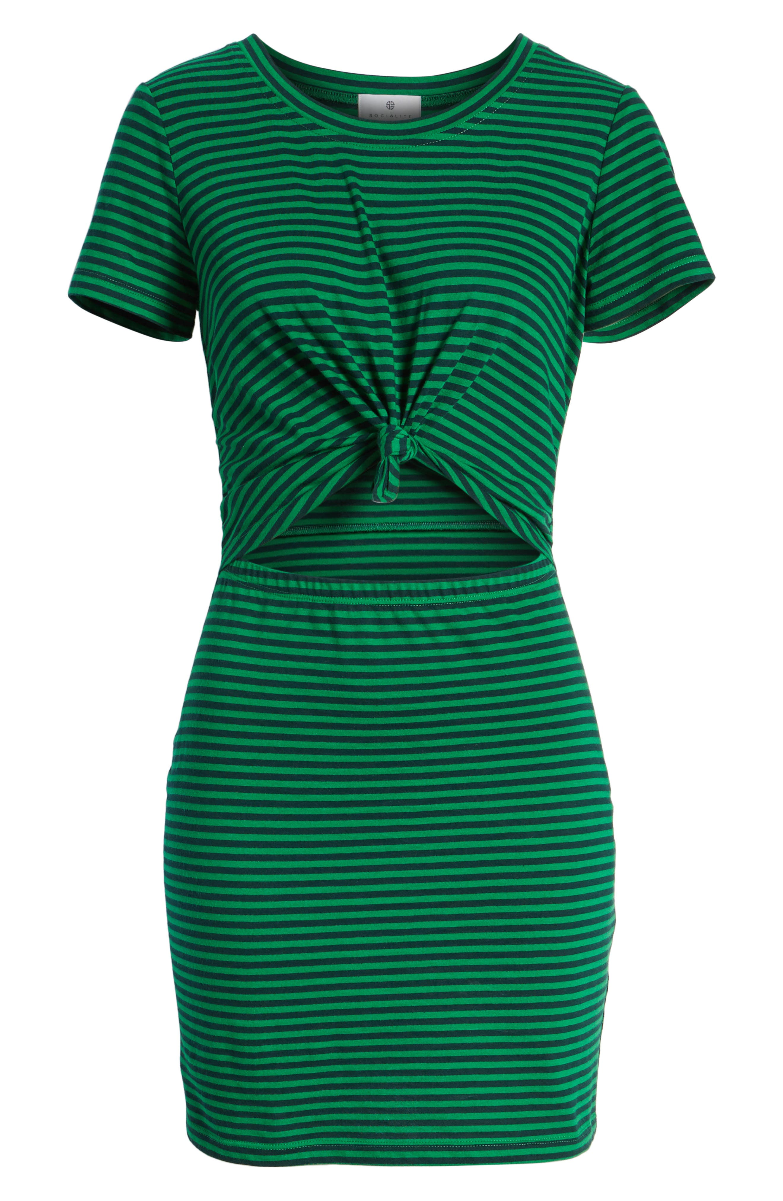 Knot Front Cutout Dress,                             Alternate thumbnail 7, color,                             EMERALD/ NAVY STRIPE