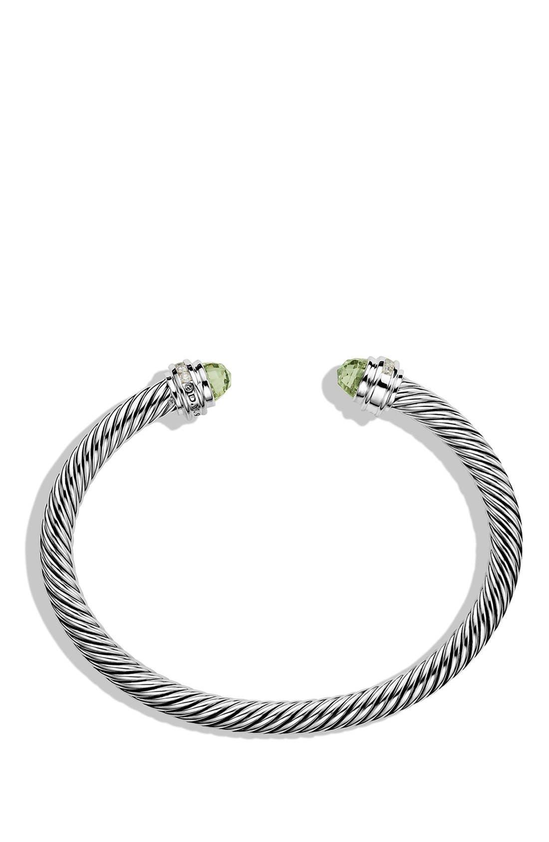 Cable Classics Bracelet with Semiprecious Stones & Diamonds, 5mm,                             Alternate thumbnail 3, color,                             PRASIOLITE