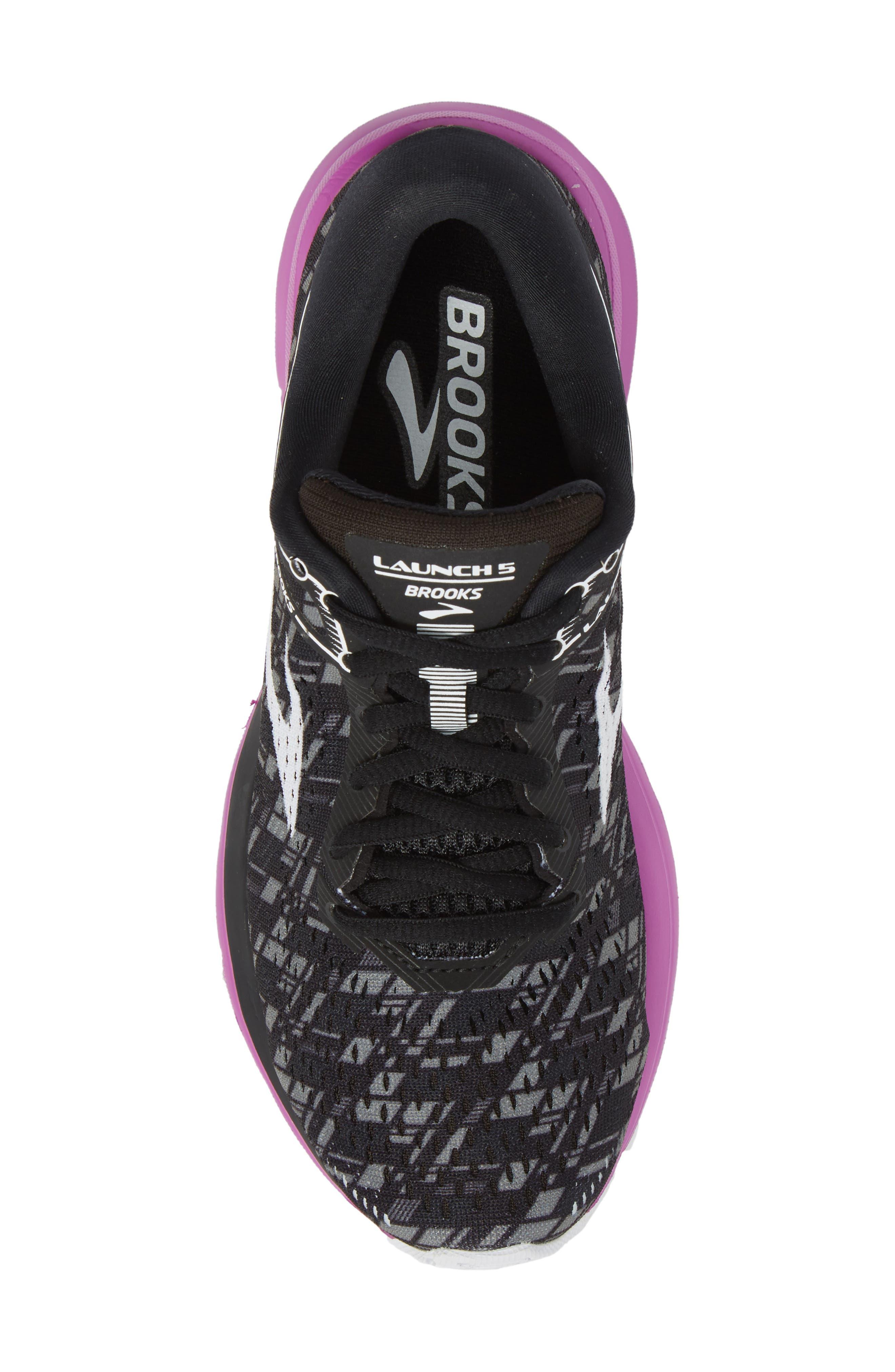 Launch 5 Running Shoe,                             Alternate thumbnail 5, color,                             BLACK/ PURPLE/ PRINT