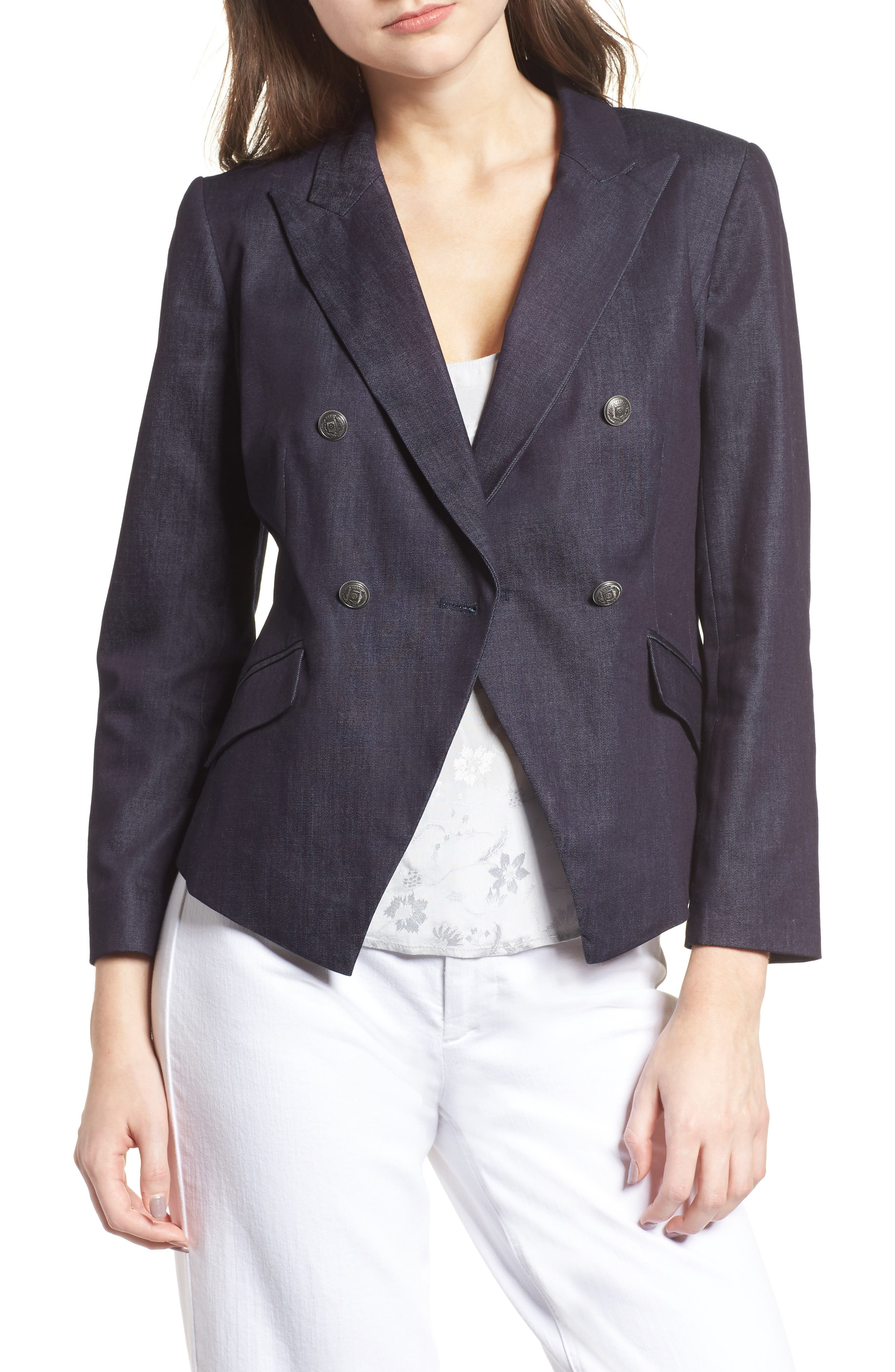 Double Breasted Denim Blazer,                         Main,                         color, 401