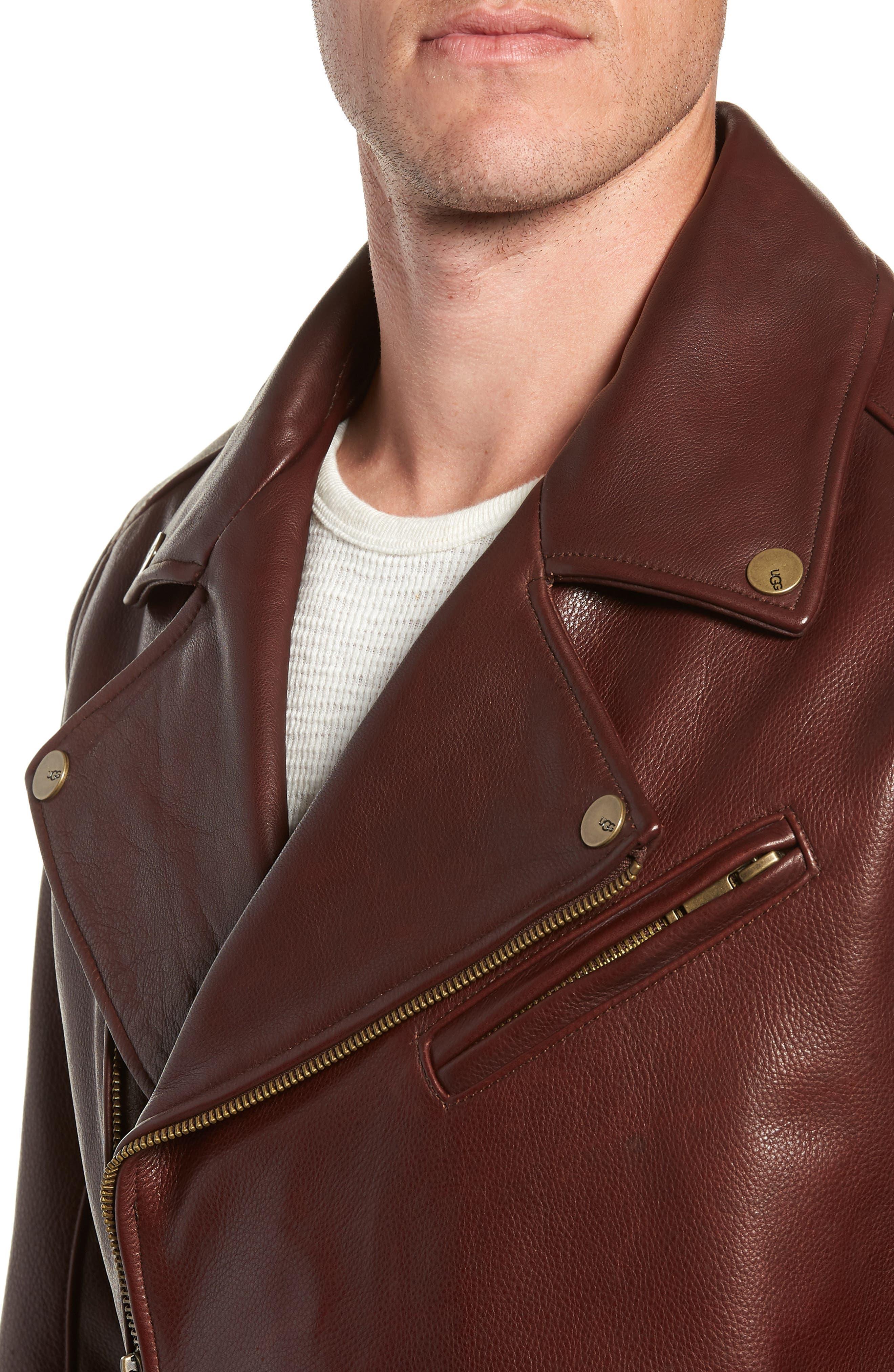 Leather Moto Jacket,                             Alternate thumbnail 4, color,                             DARK CHESTNUT