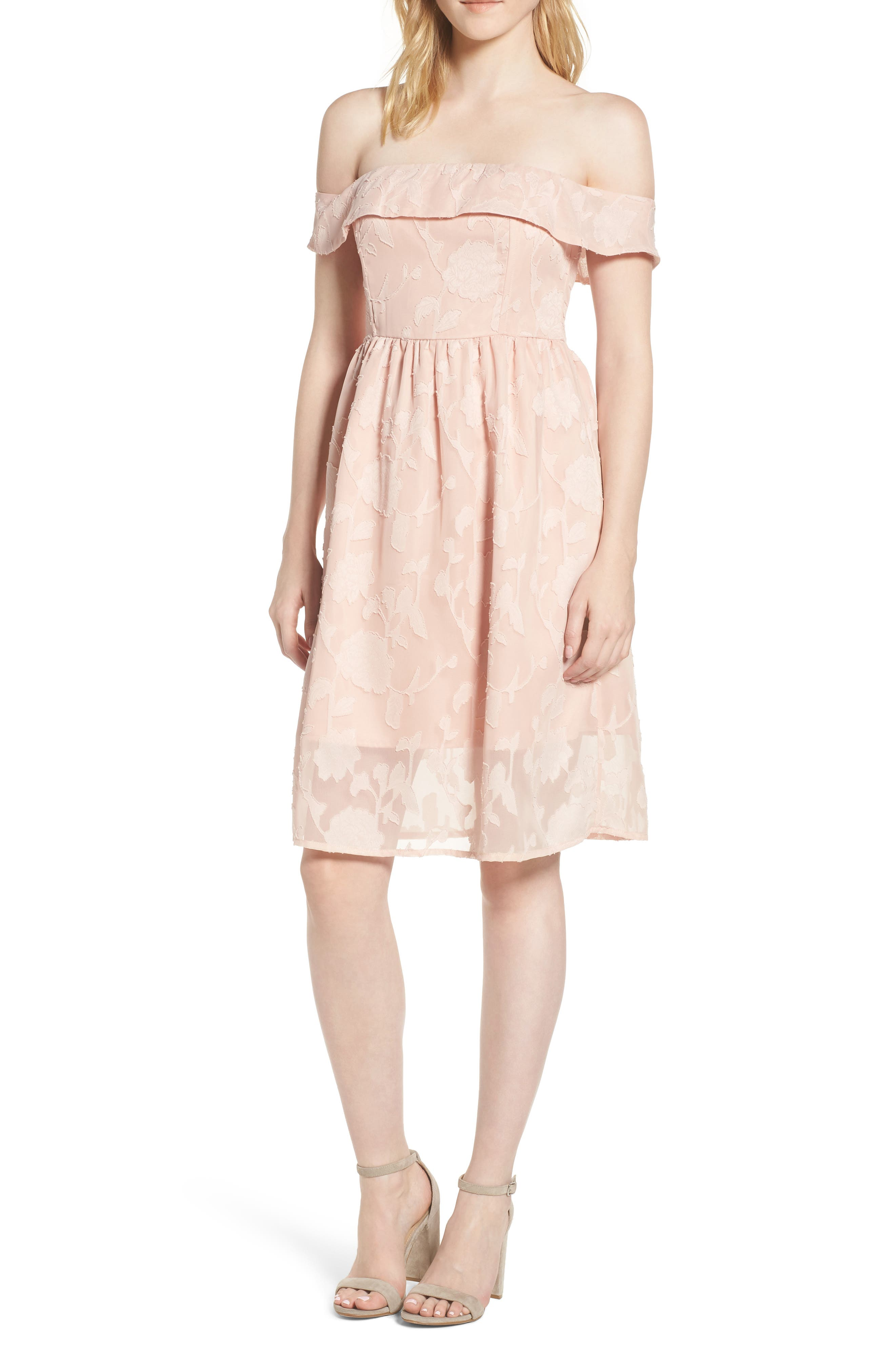 Honey Off the Shoulder Dress,                         Main,                         color, MUTED PEACH