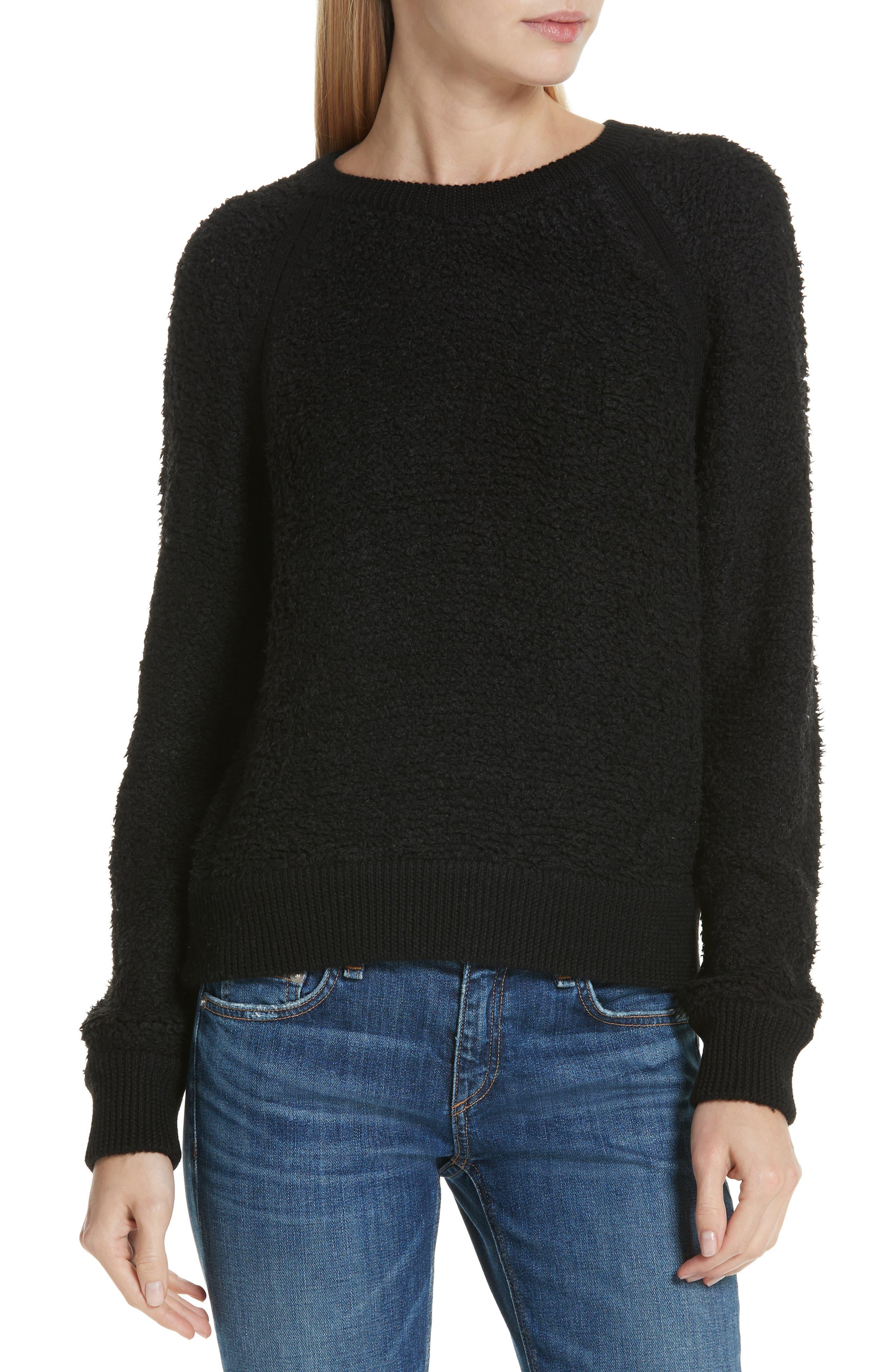 Brooke Teddy Sweatshirt,                         Main,                         color, BLACK