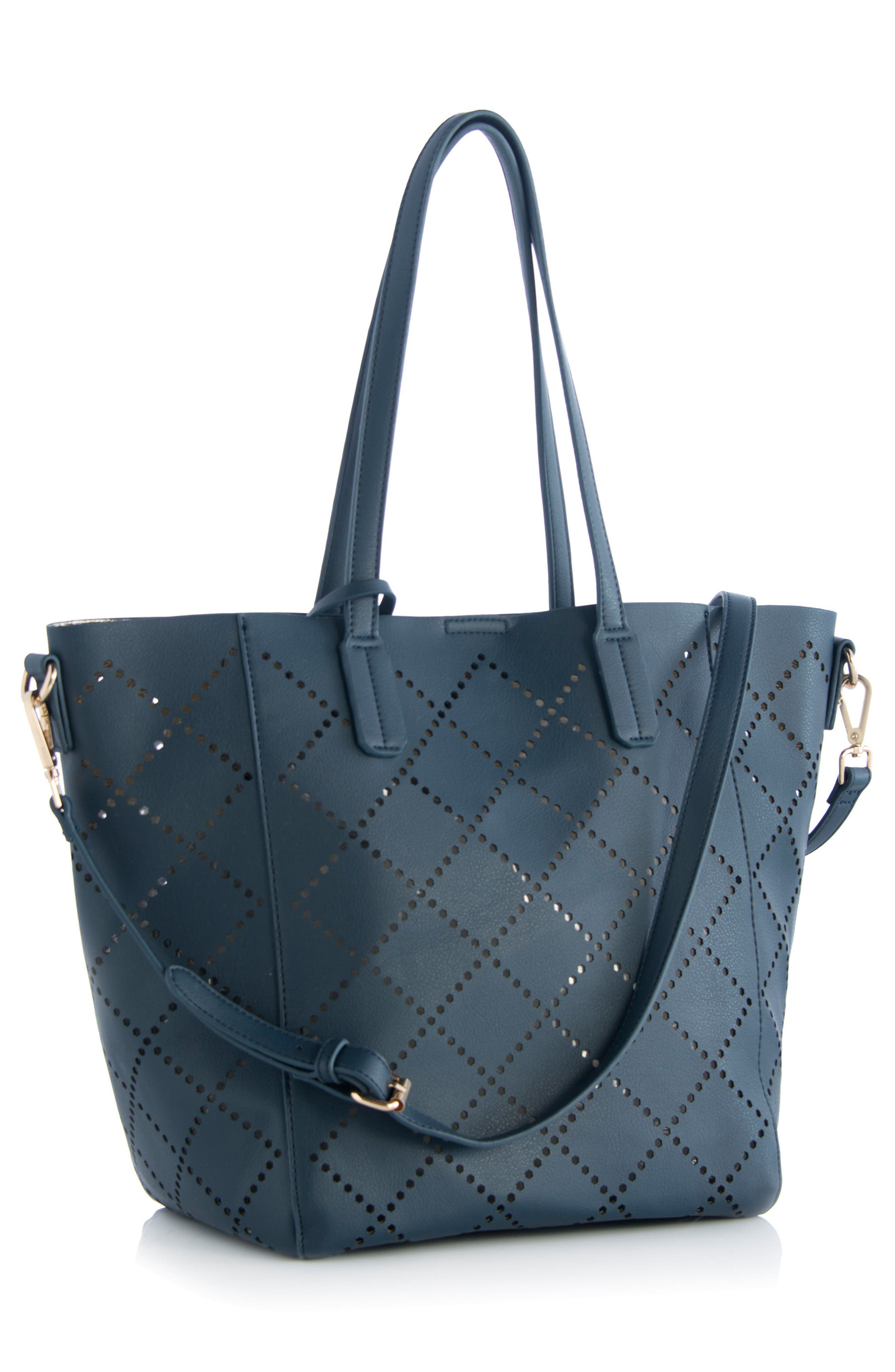 Perforated Faux Leather Tote,                             Alternate thumbnail 4, color,