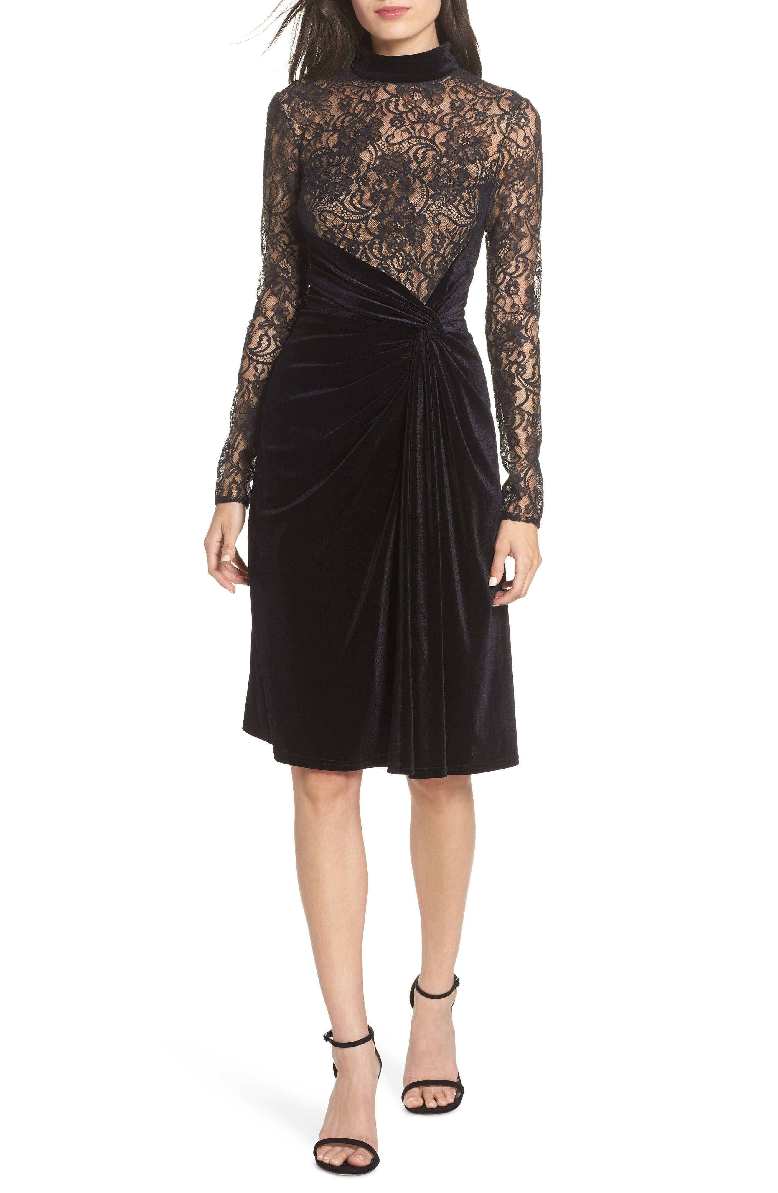 T by Tadashi Lace & Velvet Sheath Dress,                         Main,                         color, BLACK/ NUDE