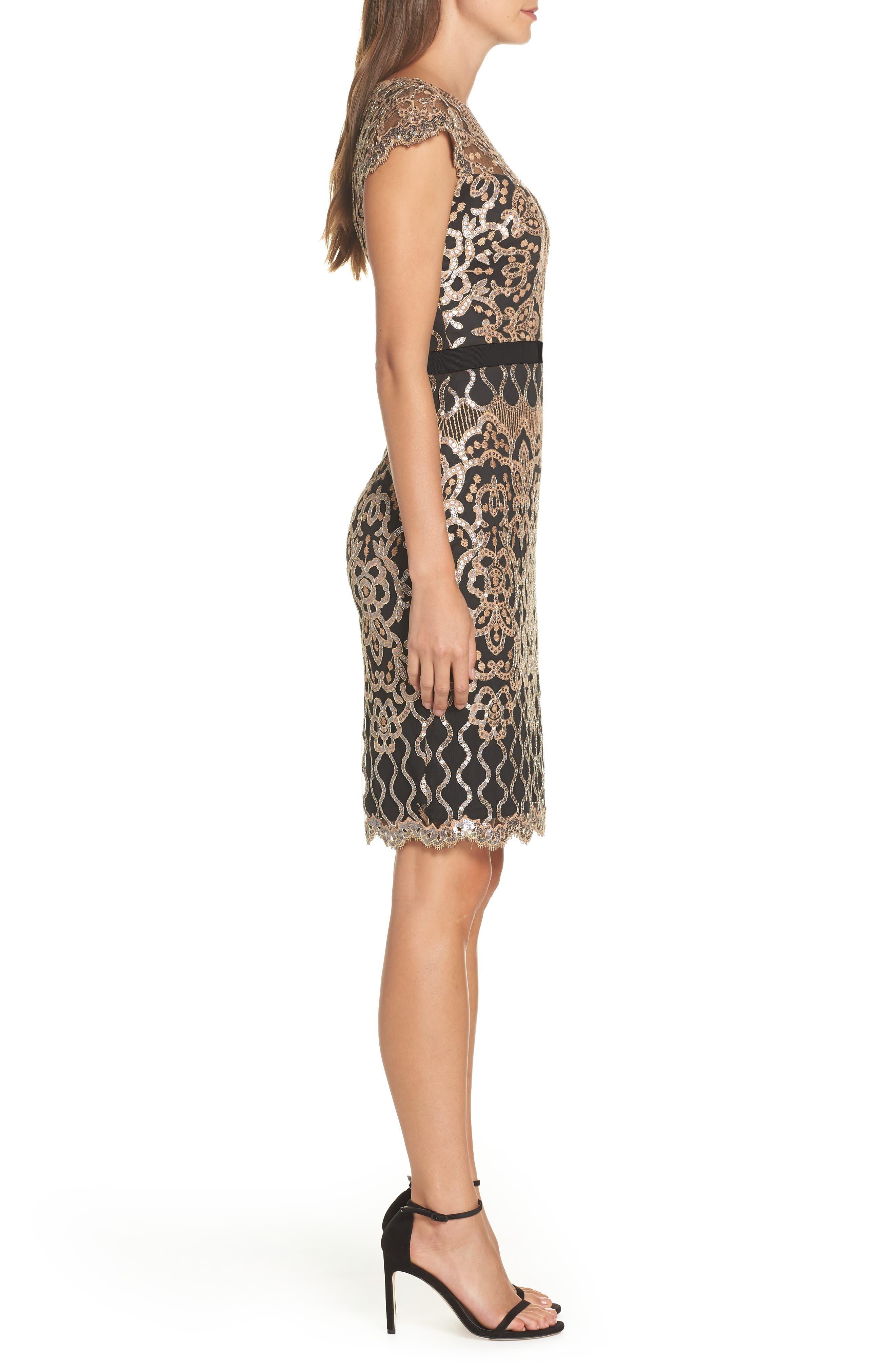 Sequin Embellished Dress,                             Alternate thumbnail 3, color,                             COPPER SHADOW/ BLACK