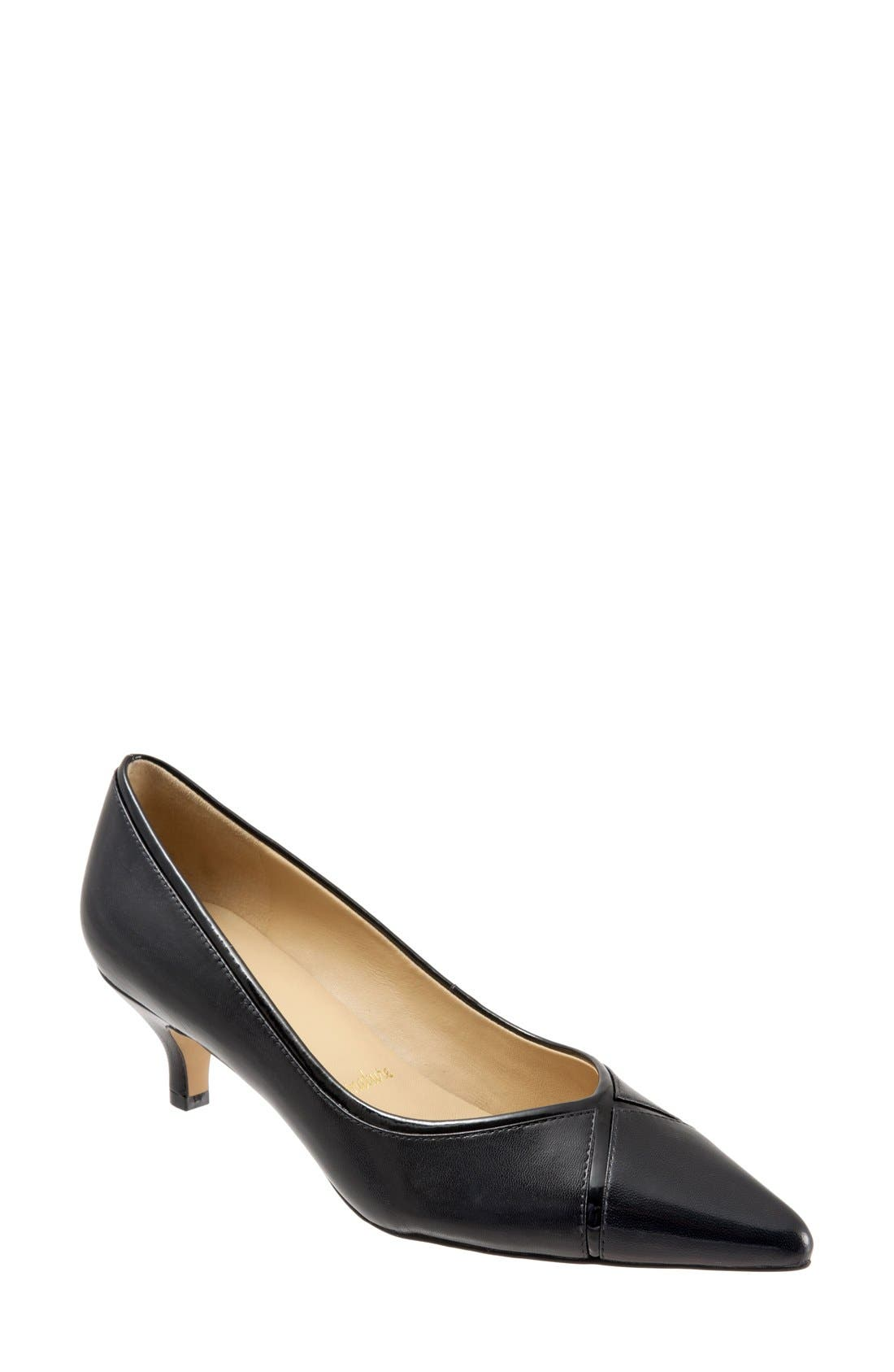 'Kelsey' Pointy Toe Pump,                             Main thumbnail 1, color,                             BLACK/ BLACK