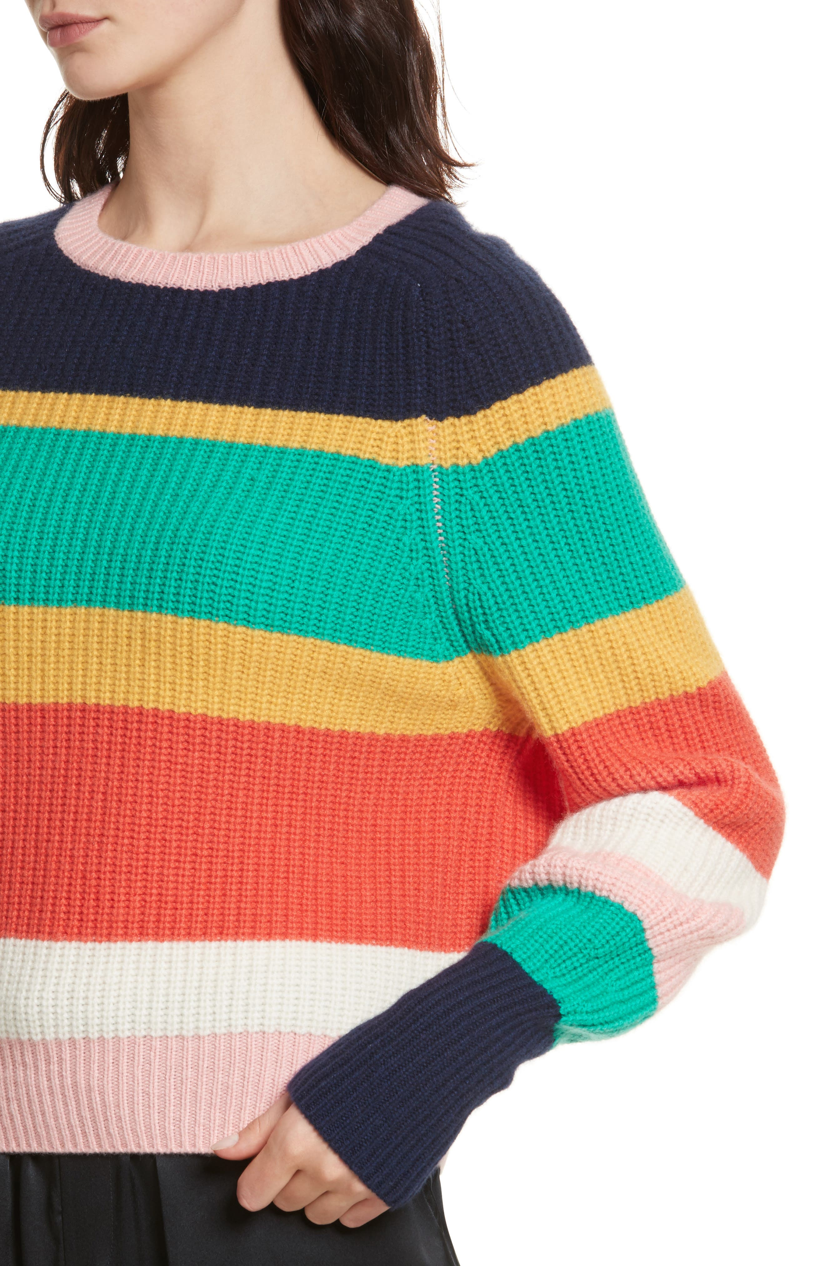 Haady Stripe Wool & Cashmere Sweater,                             Alternate thumbnail 4, color,                             475
