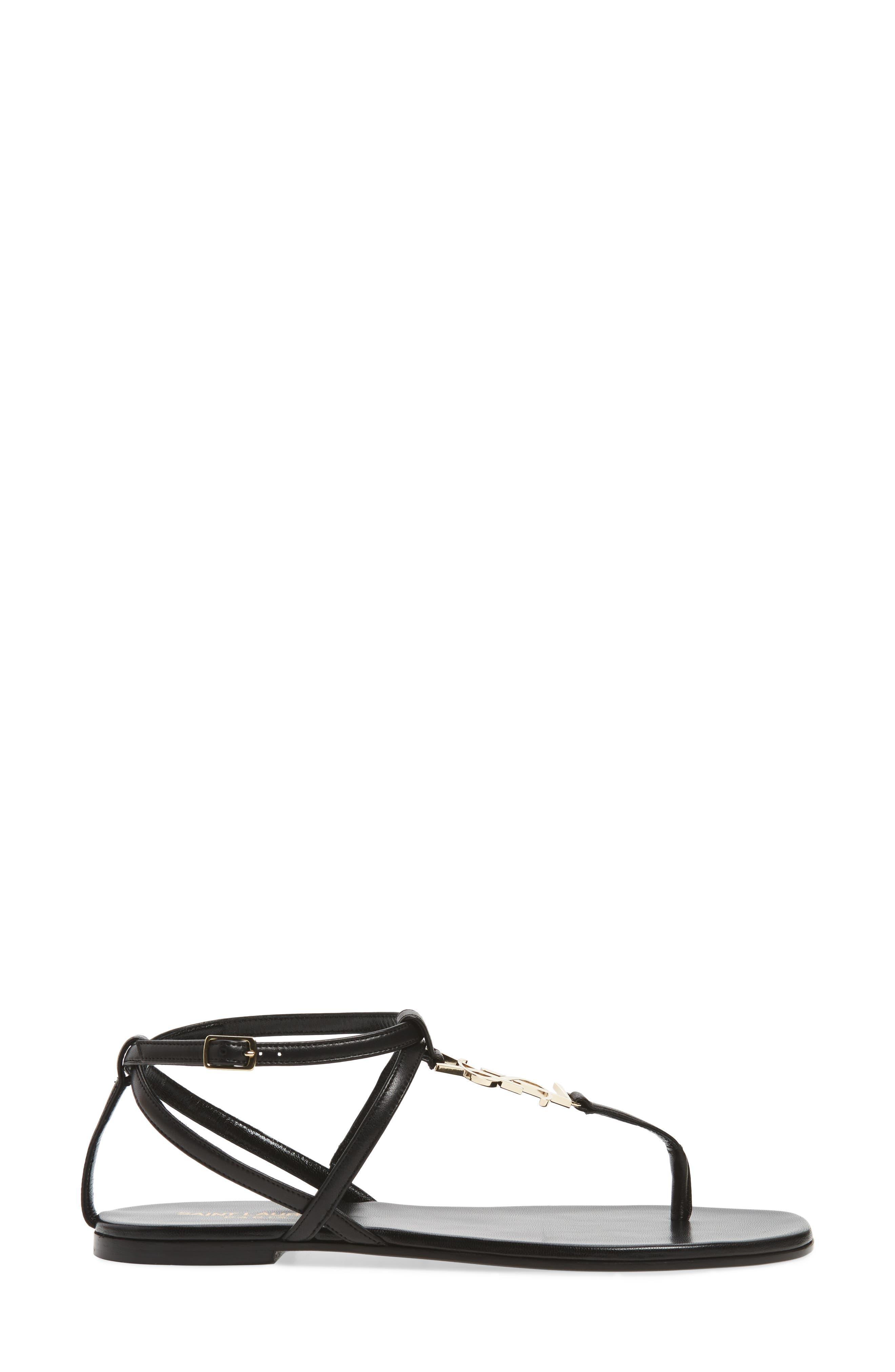 Nu Pied T-Strap Sandal,                             Alternate thumbnail 3, color,                             BLACK/ GOLD