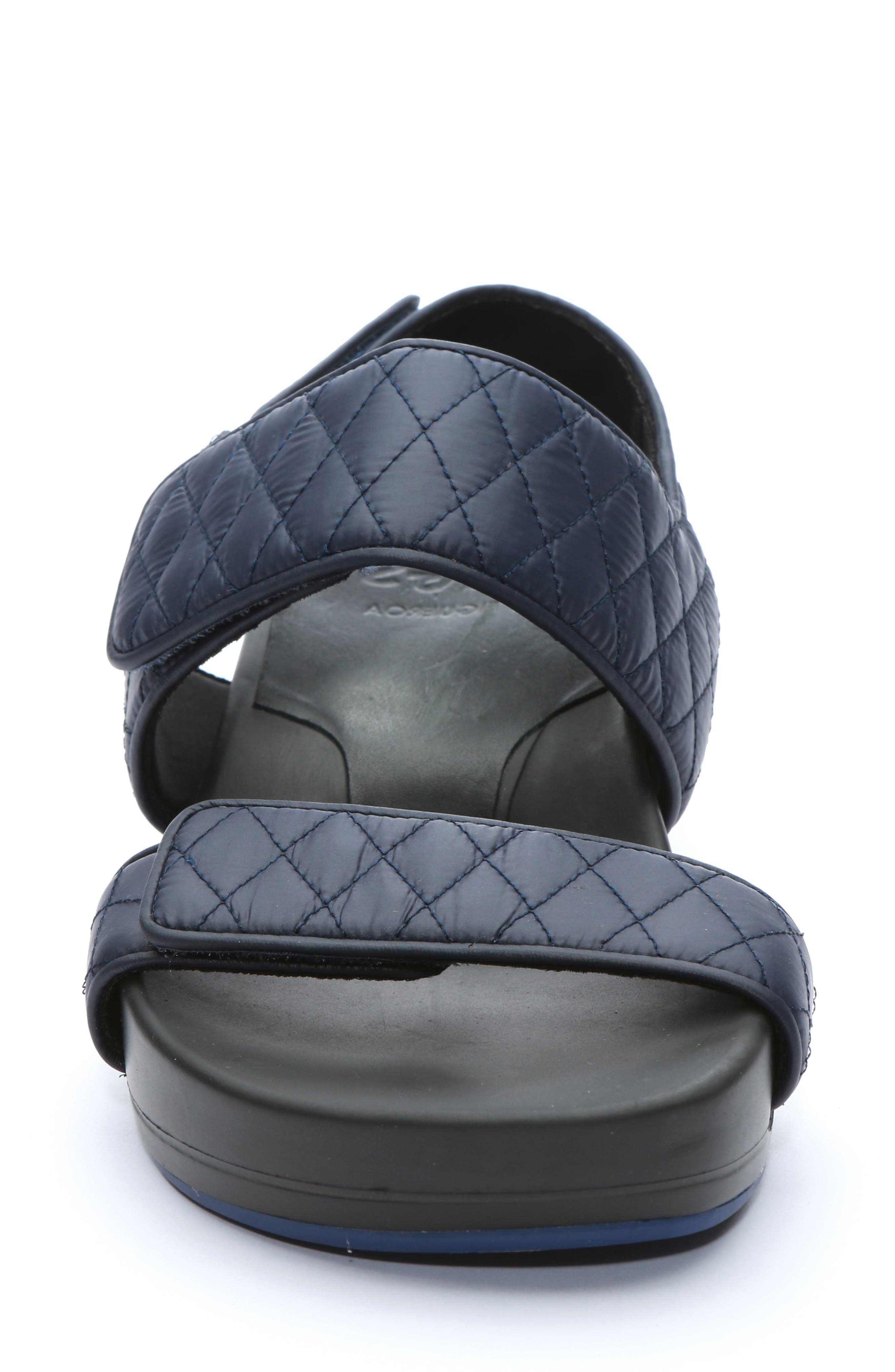 Figulous Quilted Sandal,                             Alternate thumbnail 4, color,                             NAVY FABRIC