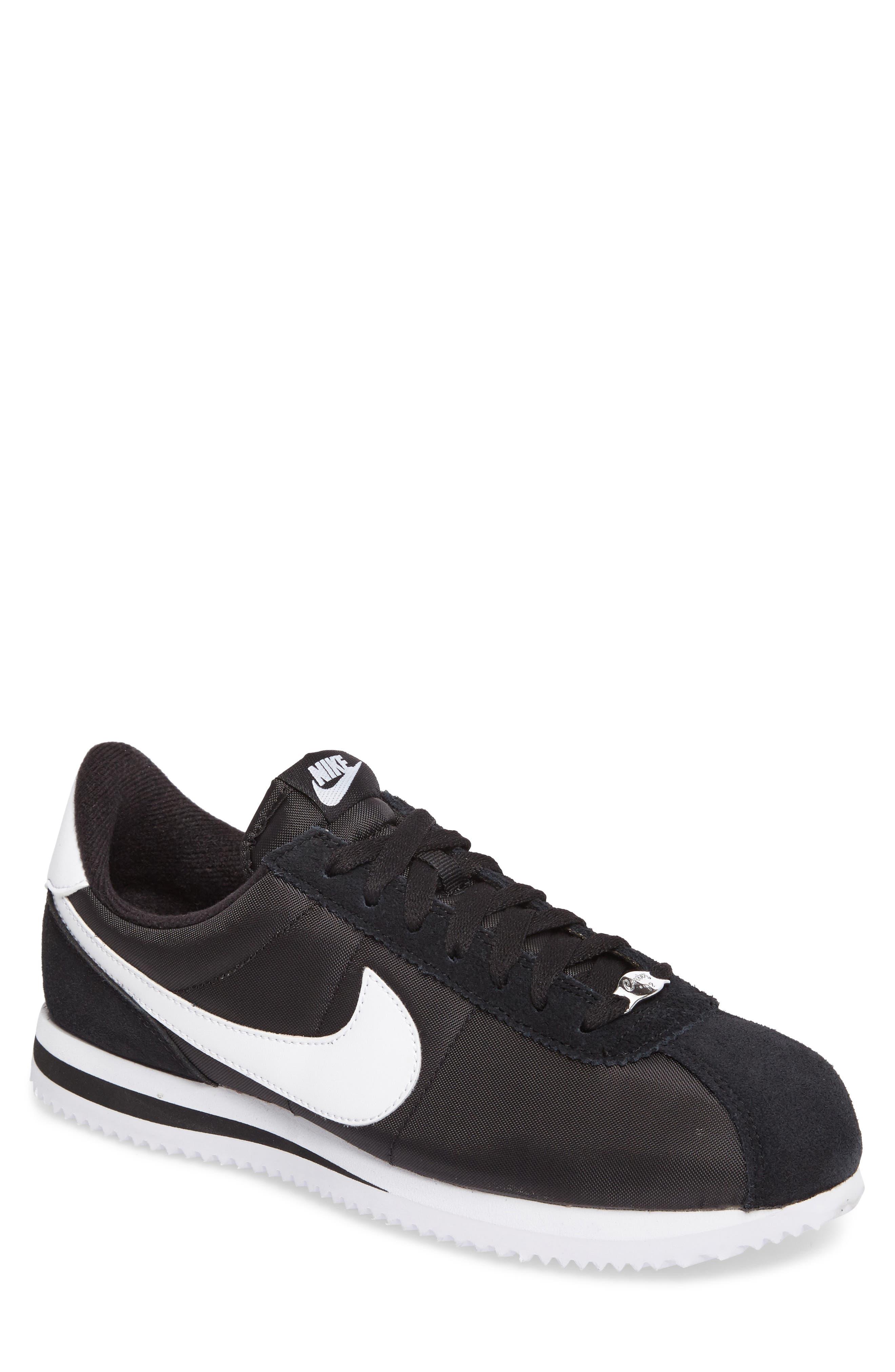 Cortez Basic Nylon Sneaker,                             Main thumbnail 1, color,                             BLACK/WHITE/METALLIC SILVER