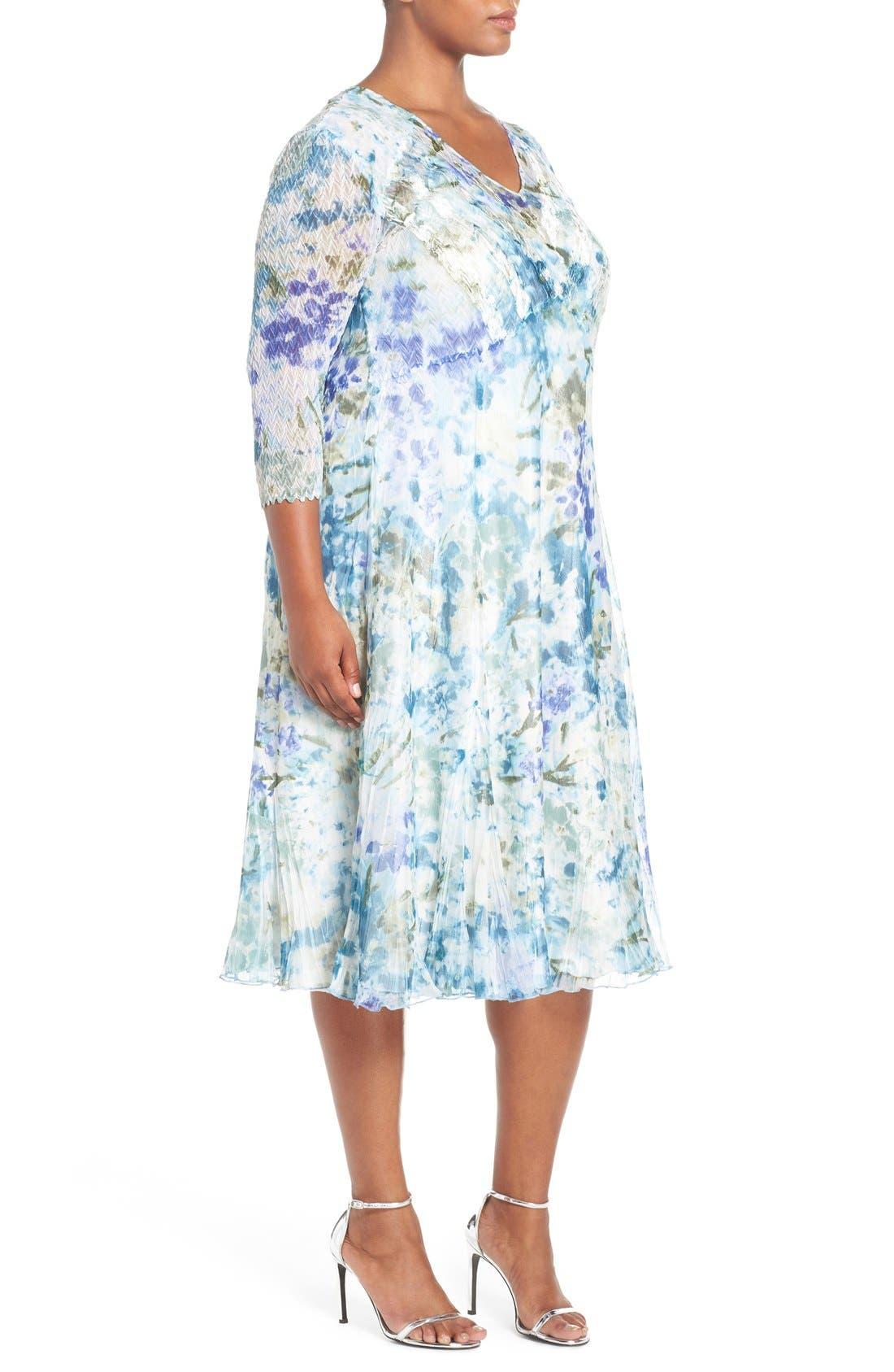 Print Three-Quarter Sleeve Chiffon A-Line Dress,                             Alternate thumbnail 3, color,