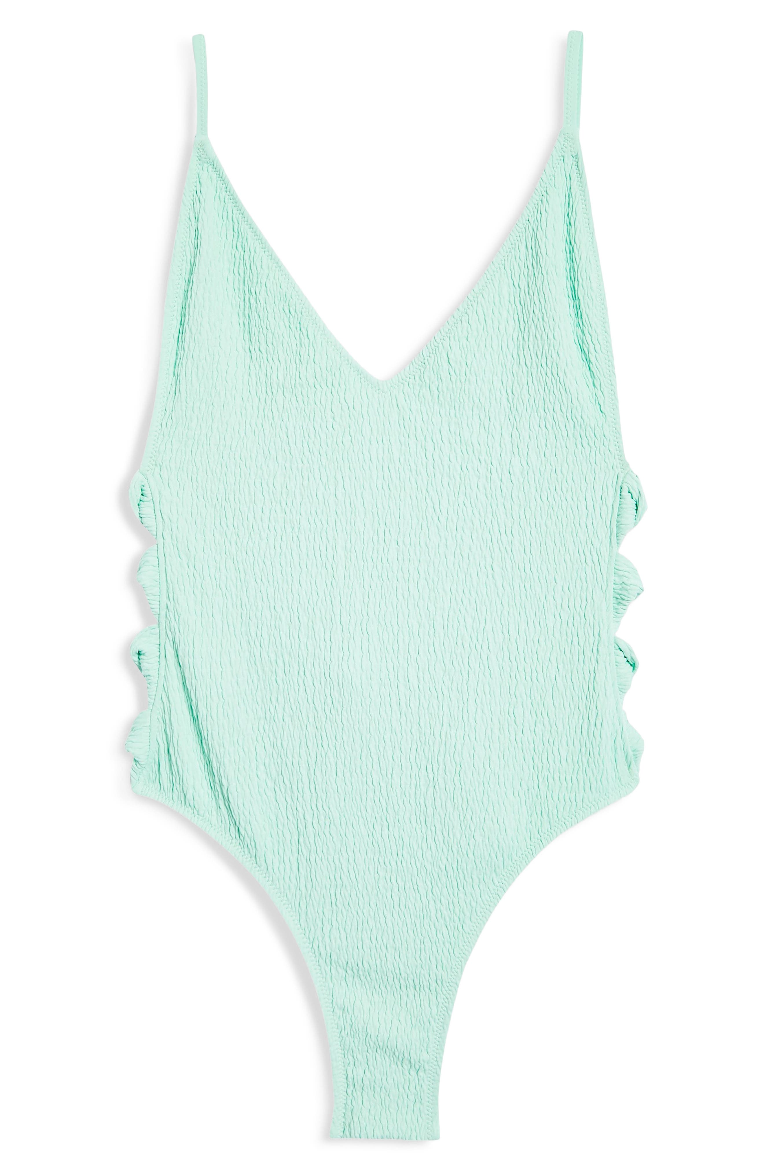 Twist Side Swimsuit,                             Alternate thumbnail 4, color,                             BRIGHT GREEN