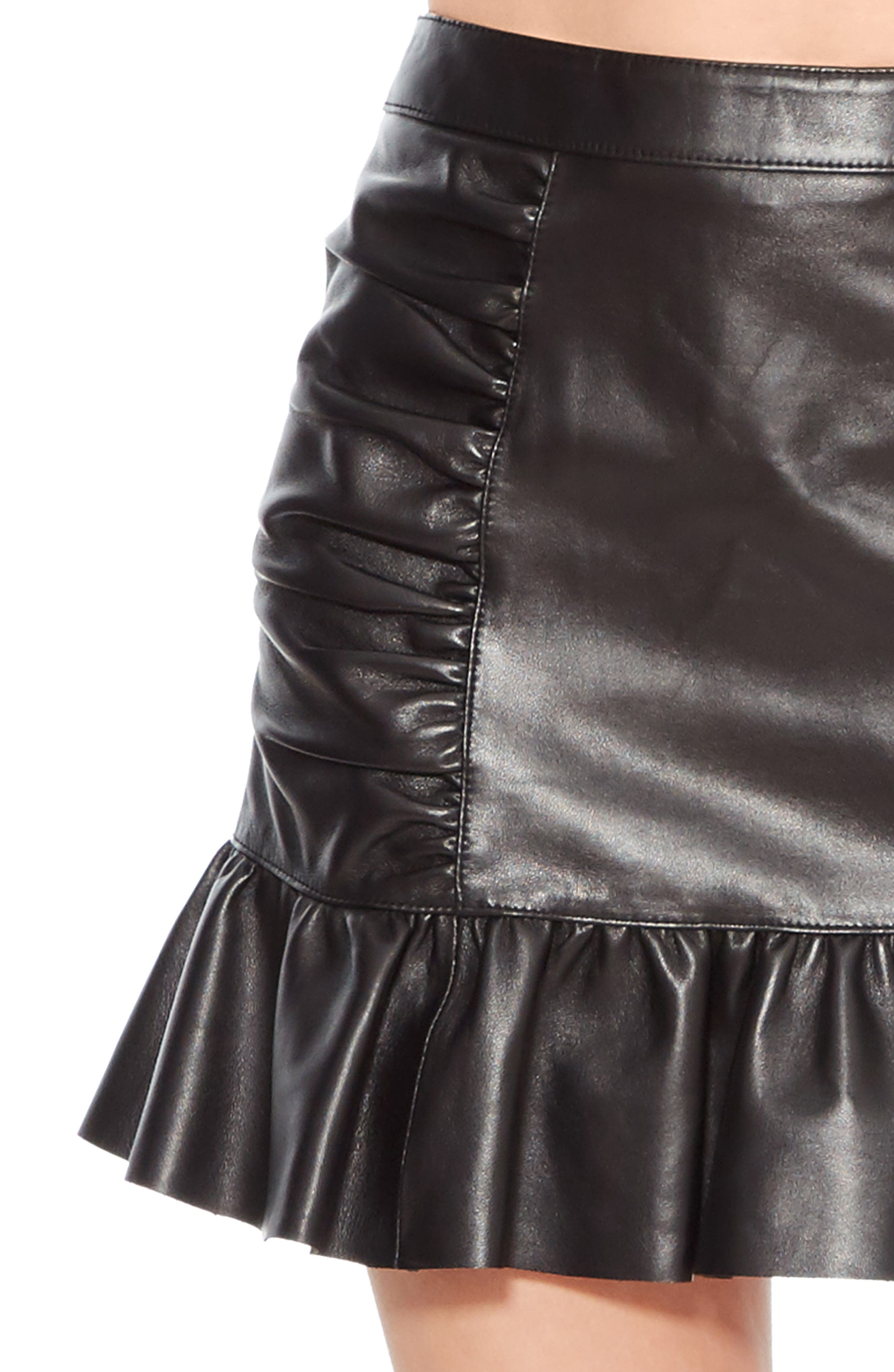 Alexandra Leather Ruffle Skirt,                             Alternate thumbnail 4, color,                             BLACK